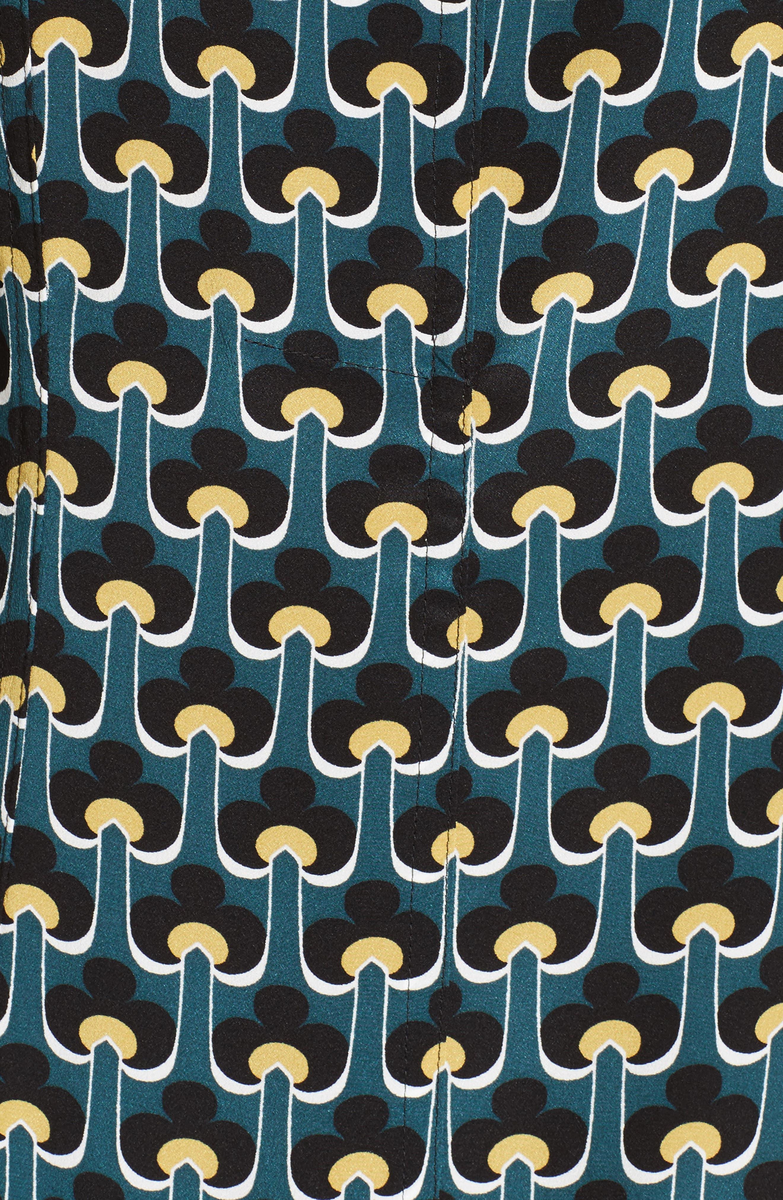 Print Silk Cold Shoulder Dress,                             Alternate thumbnail 5, color,                             400
