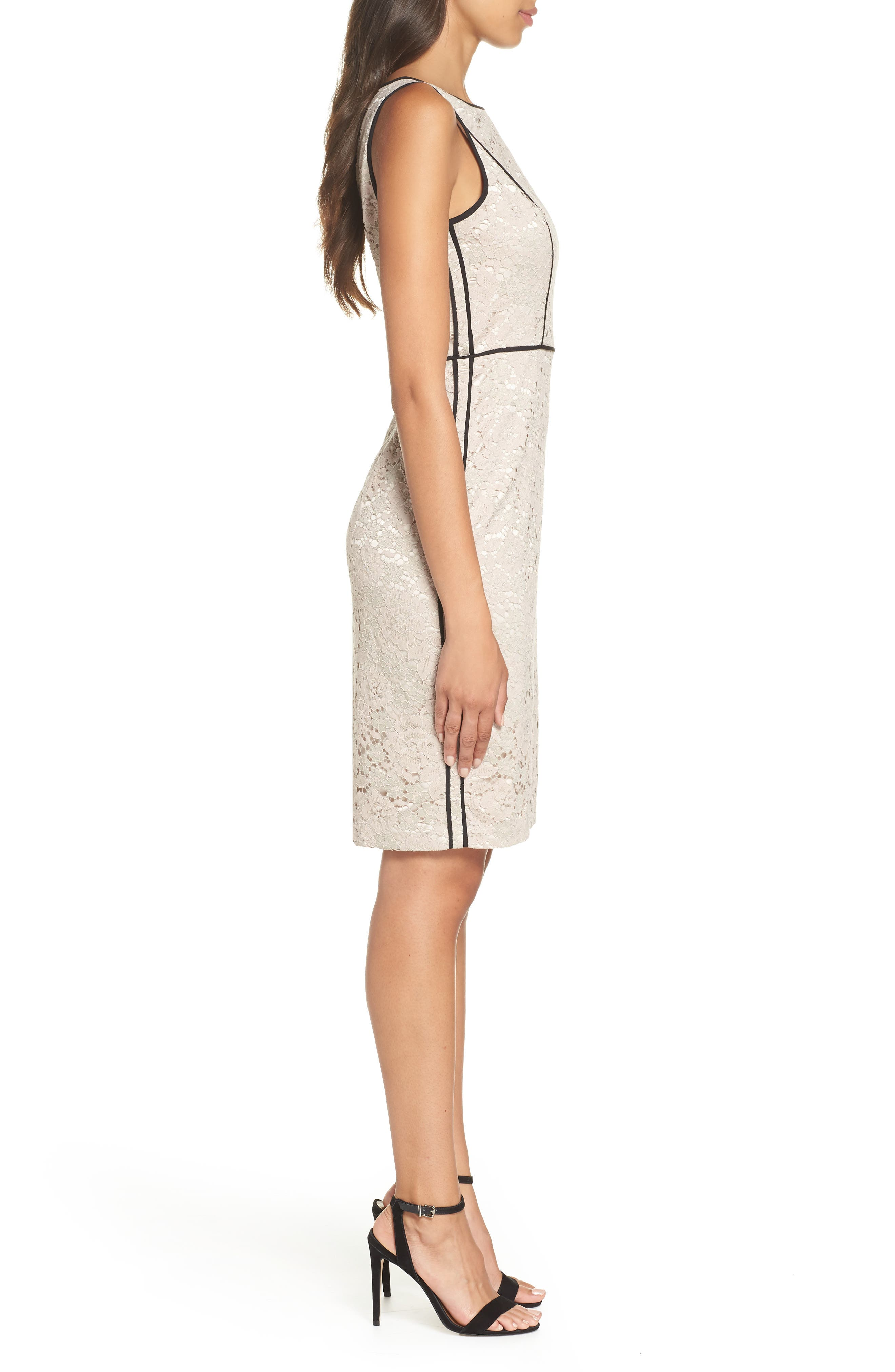 Piped Lace Sheath Dress,                             Alternate thumbnail 3, color,                             256