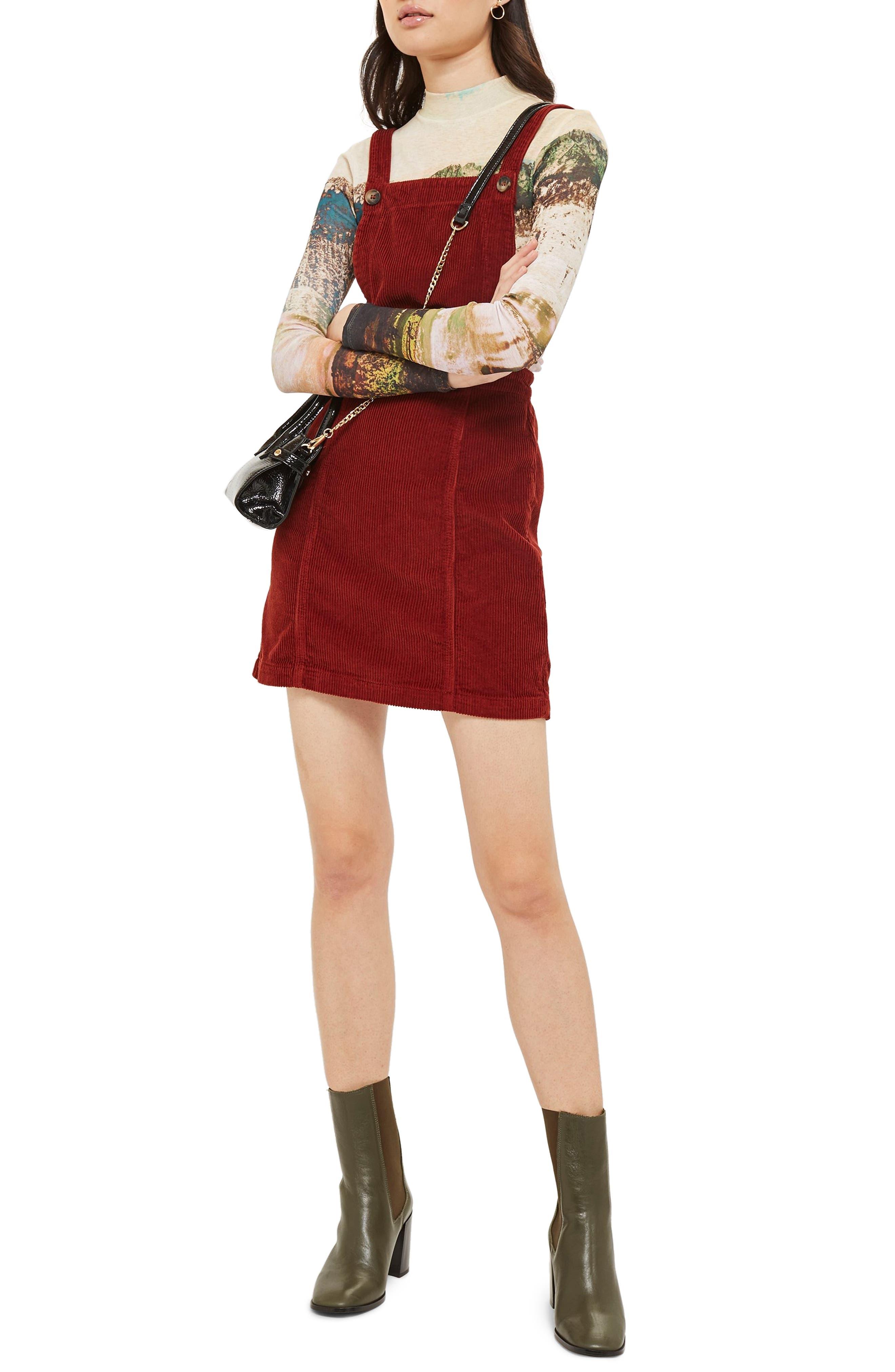 TOPSHOP Horn Button Corduroy Pinafore Dress, Main, color, RUST