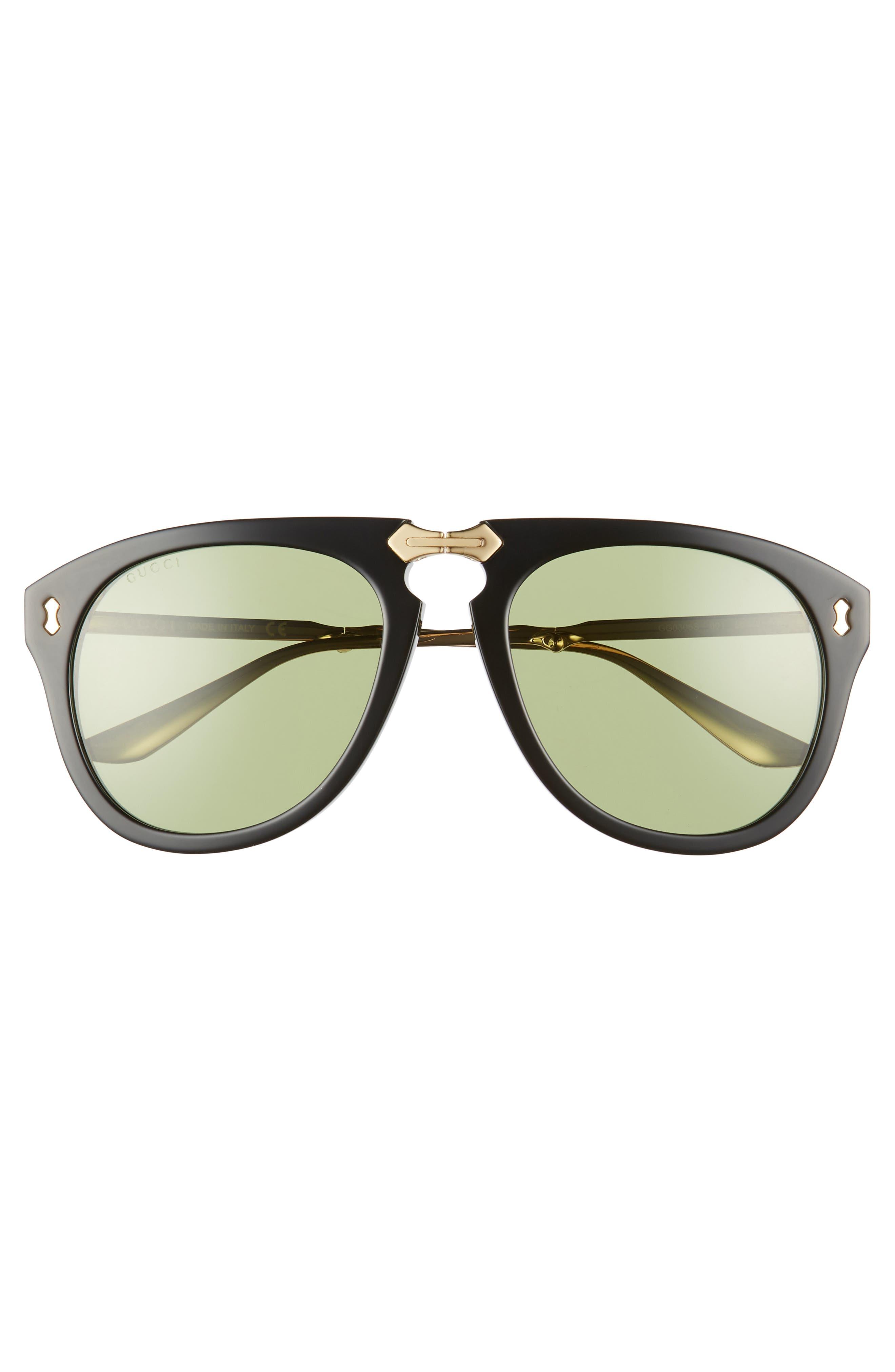 56mm Aviator Sunglasses,                             Alternate thumbnail 3, color,                             BLACK/ GOLD/ GREEN