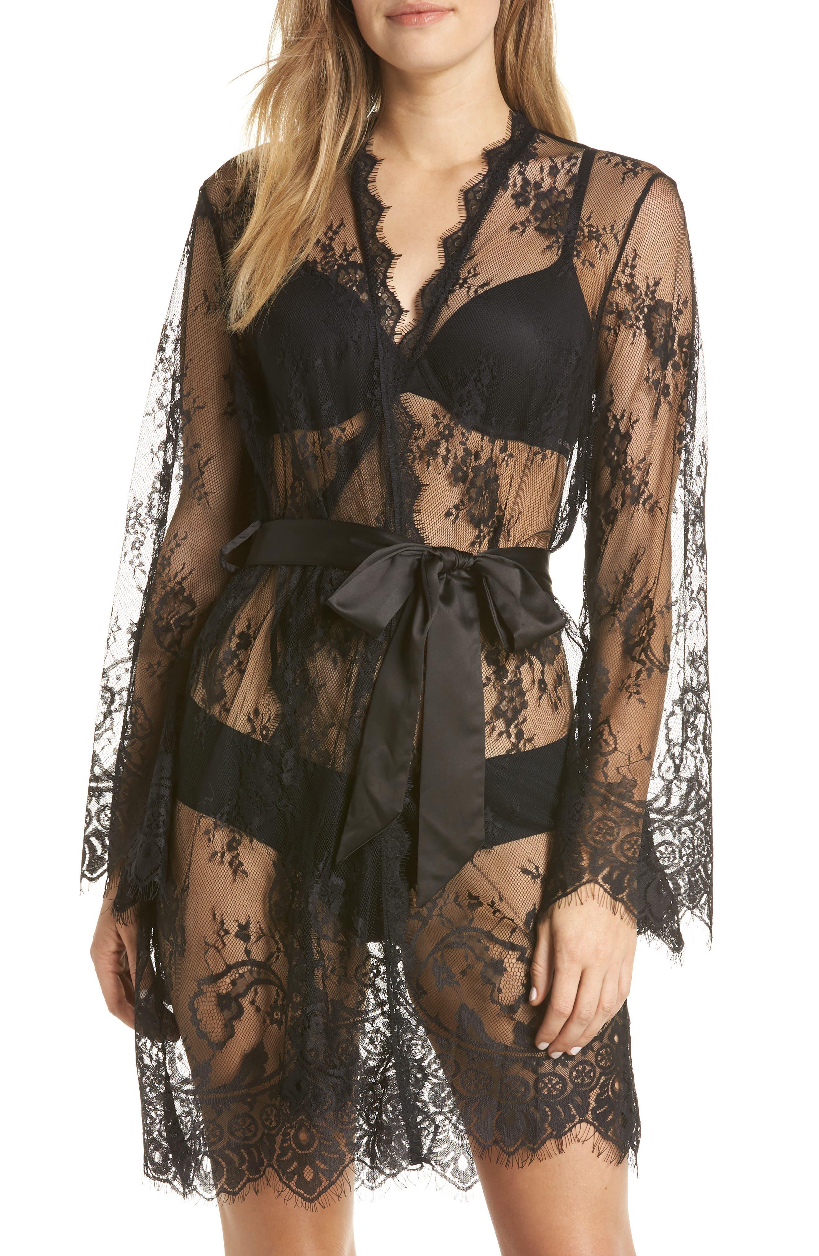 Saria Sheer Lace Robe,                             Main thumbnail 1, color,                             BLACK