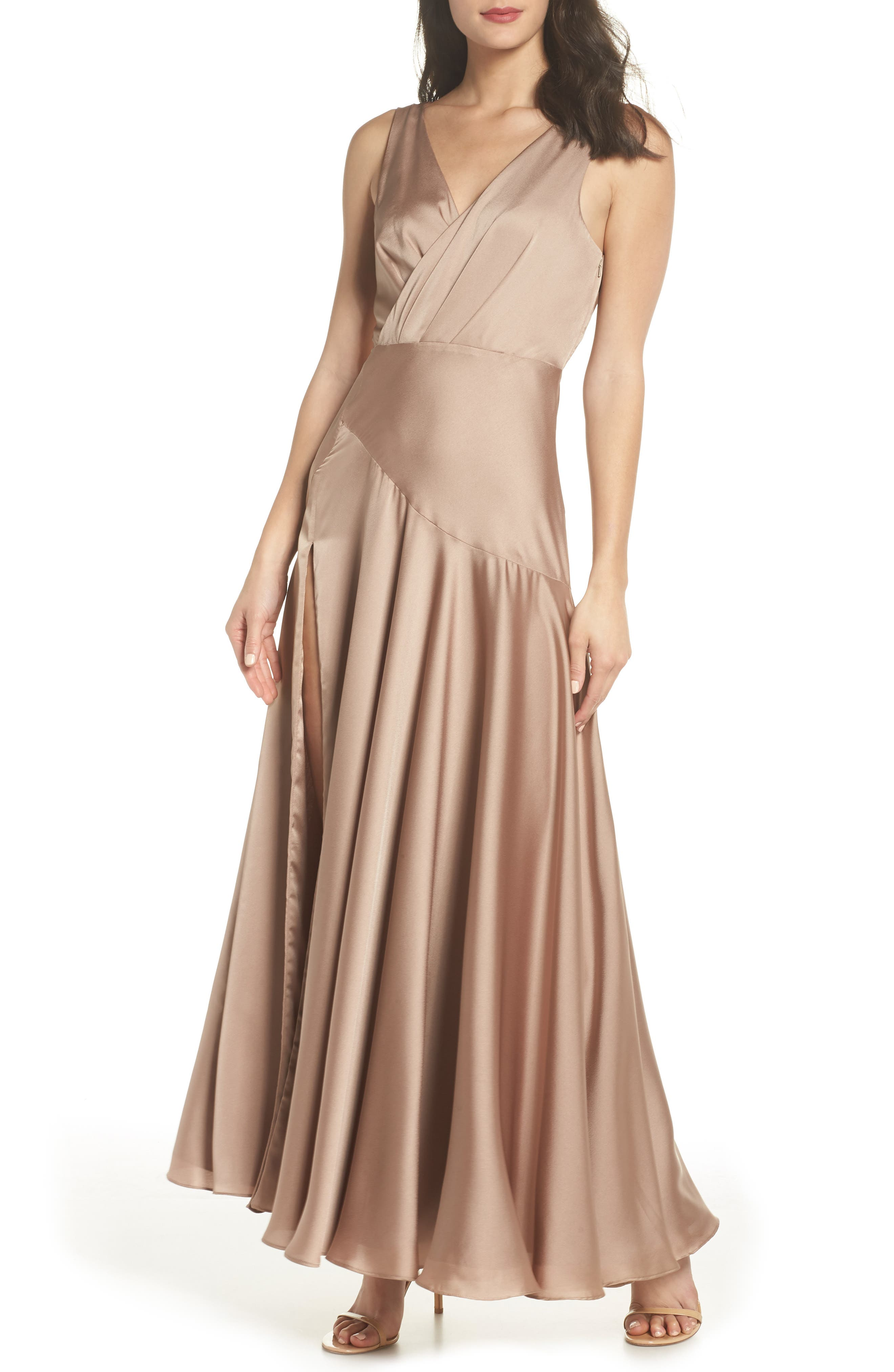 1930s Outfit Ideas for Women Womens Fame And Partners The Escala Satin Gown Size 6 - Beige $279.00 AT vintagedancer.com