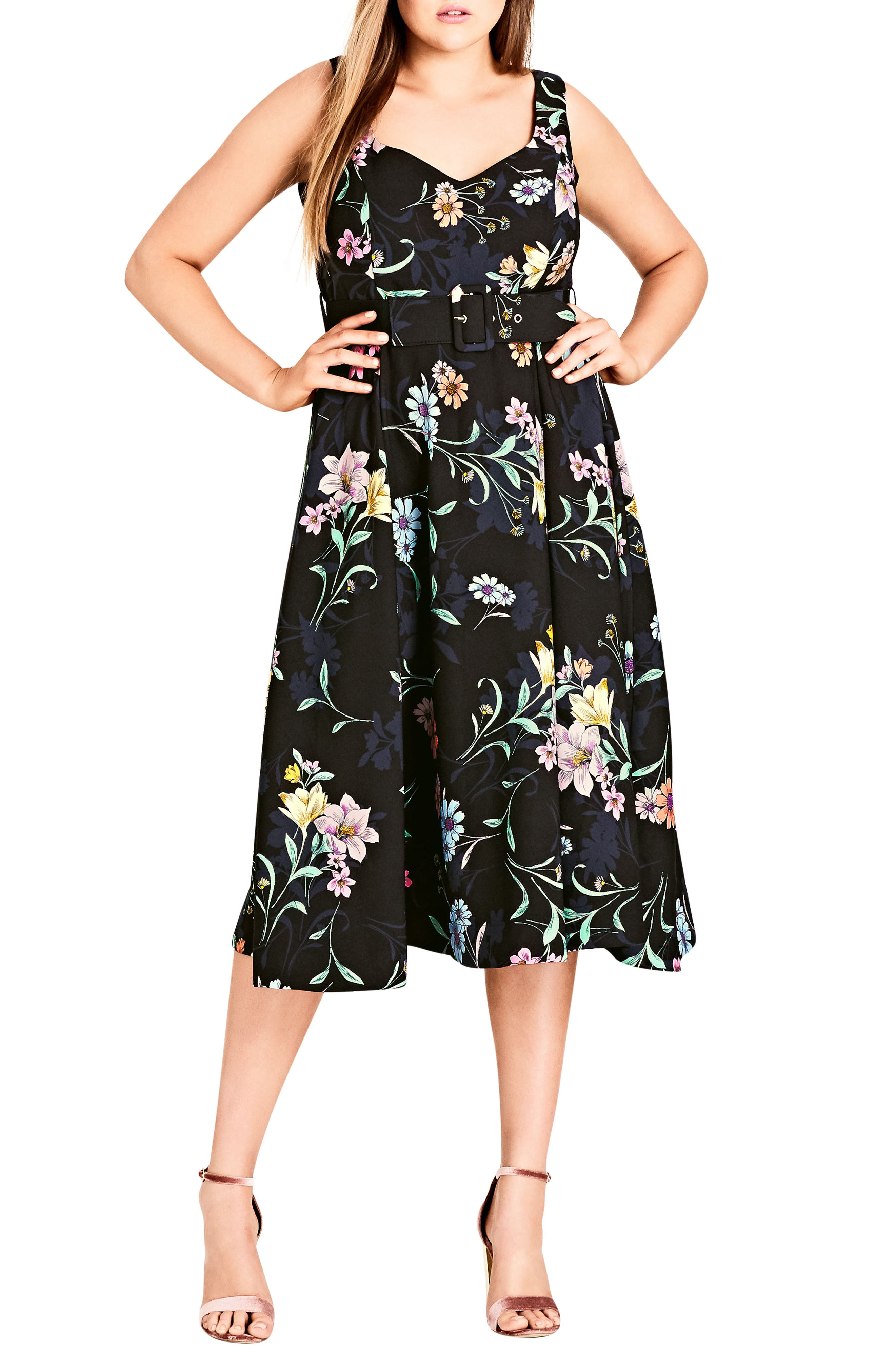 Sketch Love Floral A-Line Midi Dress,                         Main,                         color, BLACK