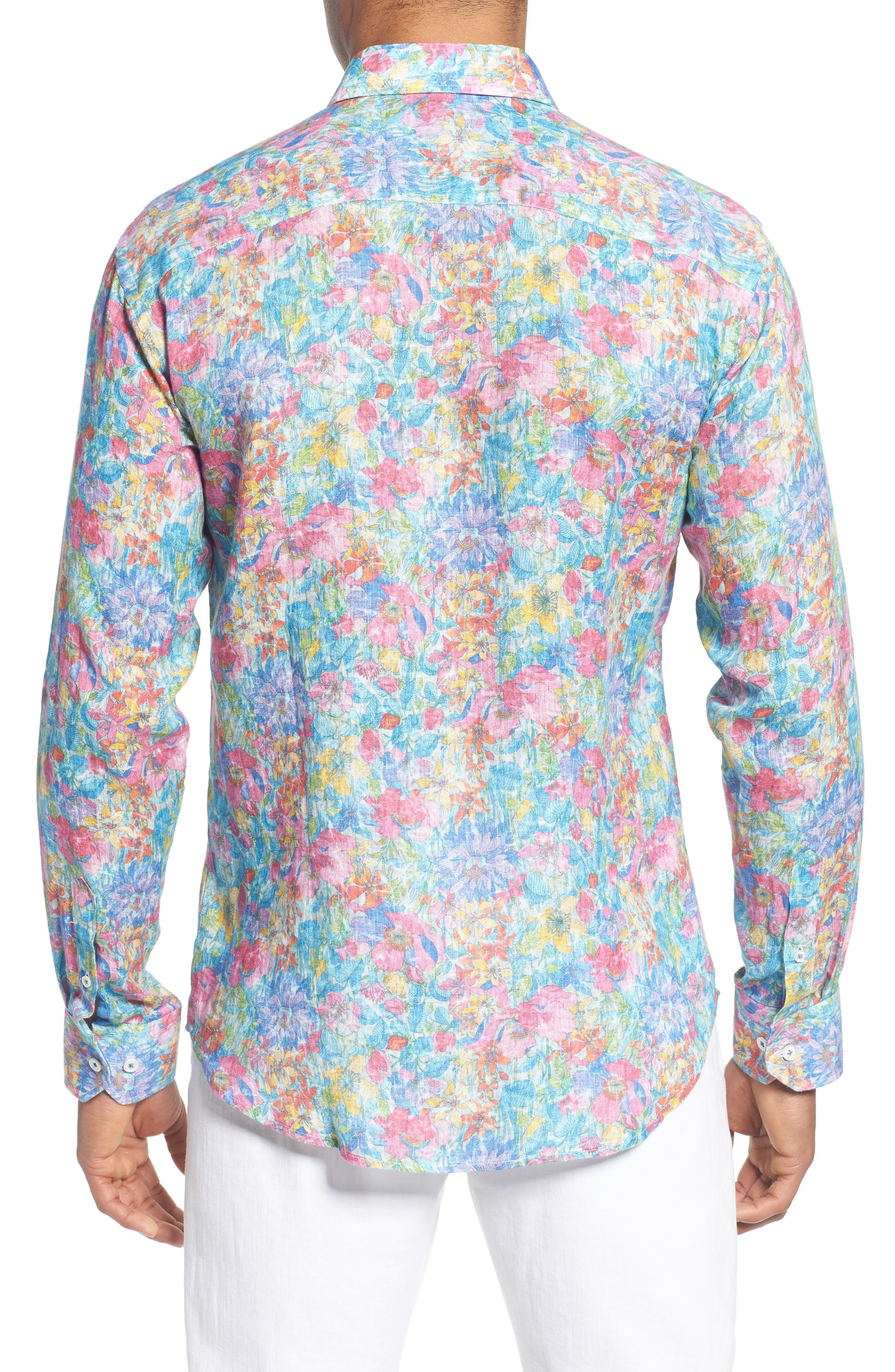 Shaped Fit Floral Linen Sport Shirt,                             Alternate thumbnail 2, color,                             329