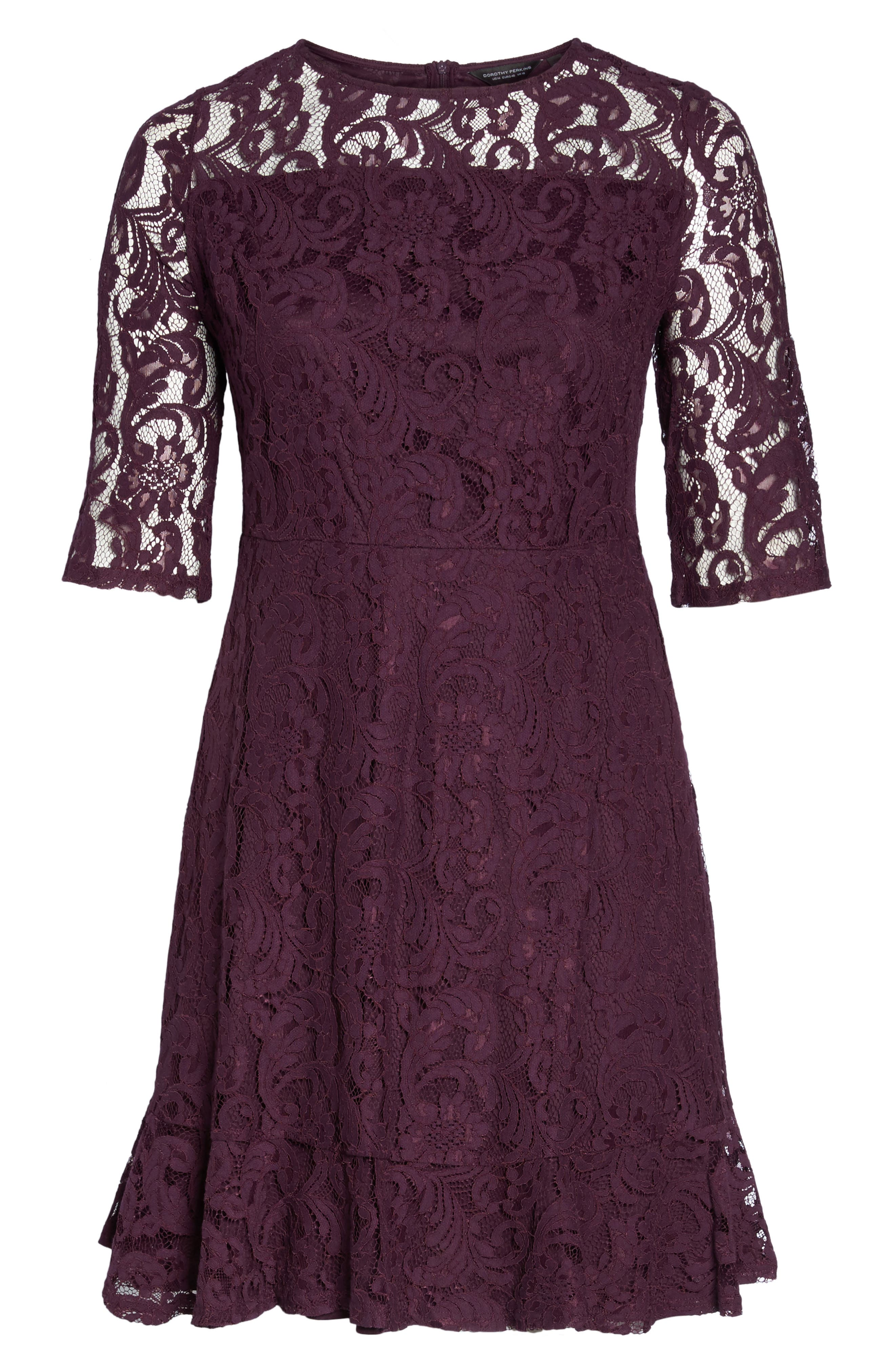 Lace Fit & Flare Dress,                             Alternate thumbnail 6, color,