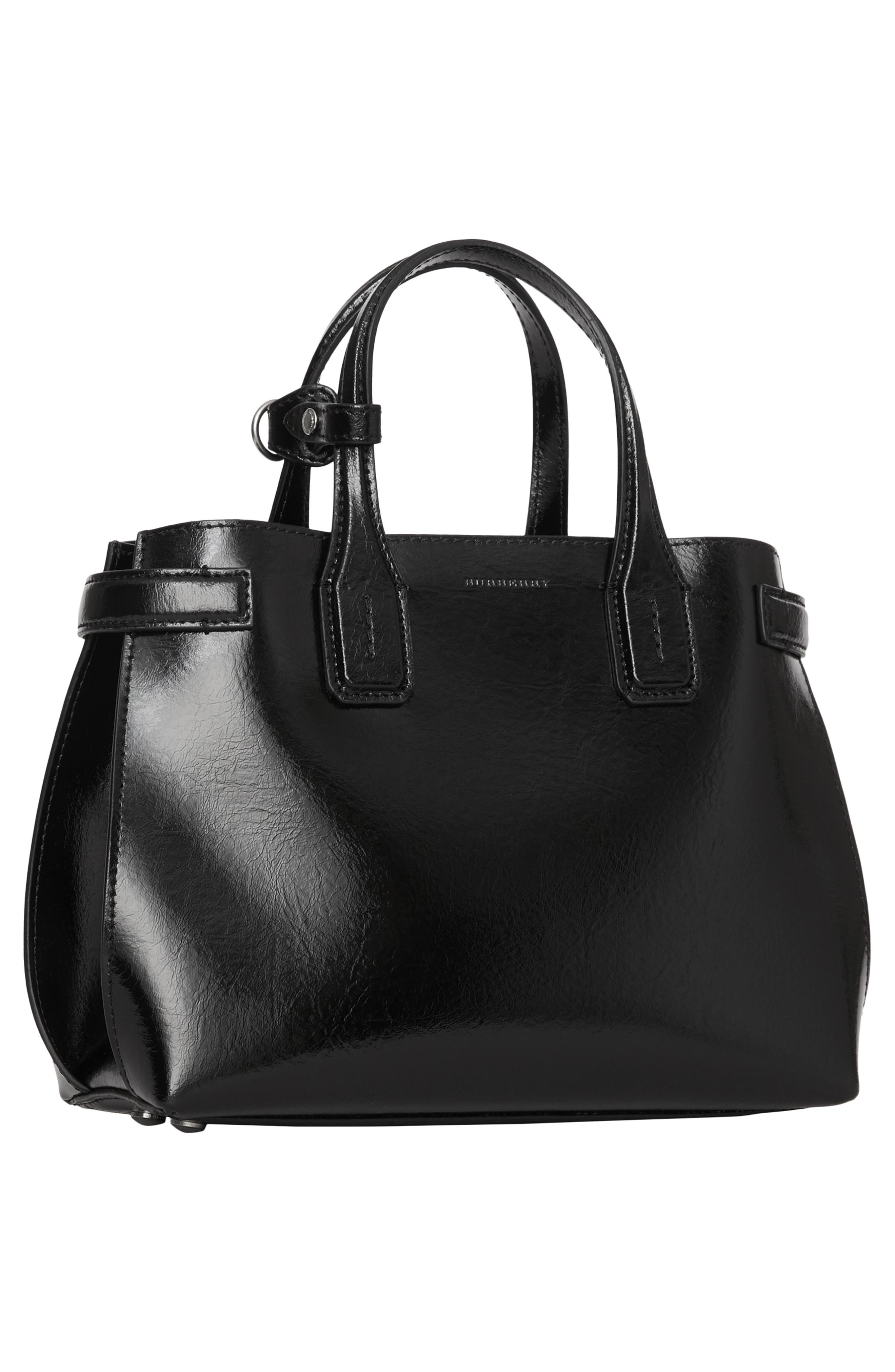 Small Banner Leather Tote,                             Alternate thumbnail 6, color,                             BLACK