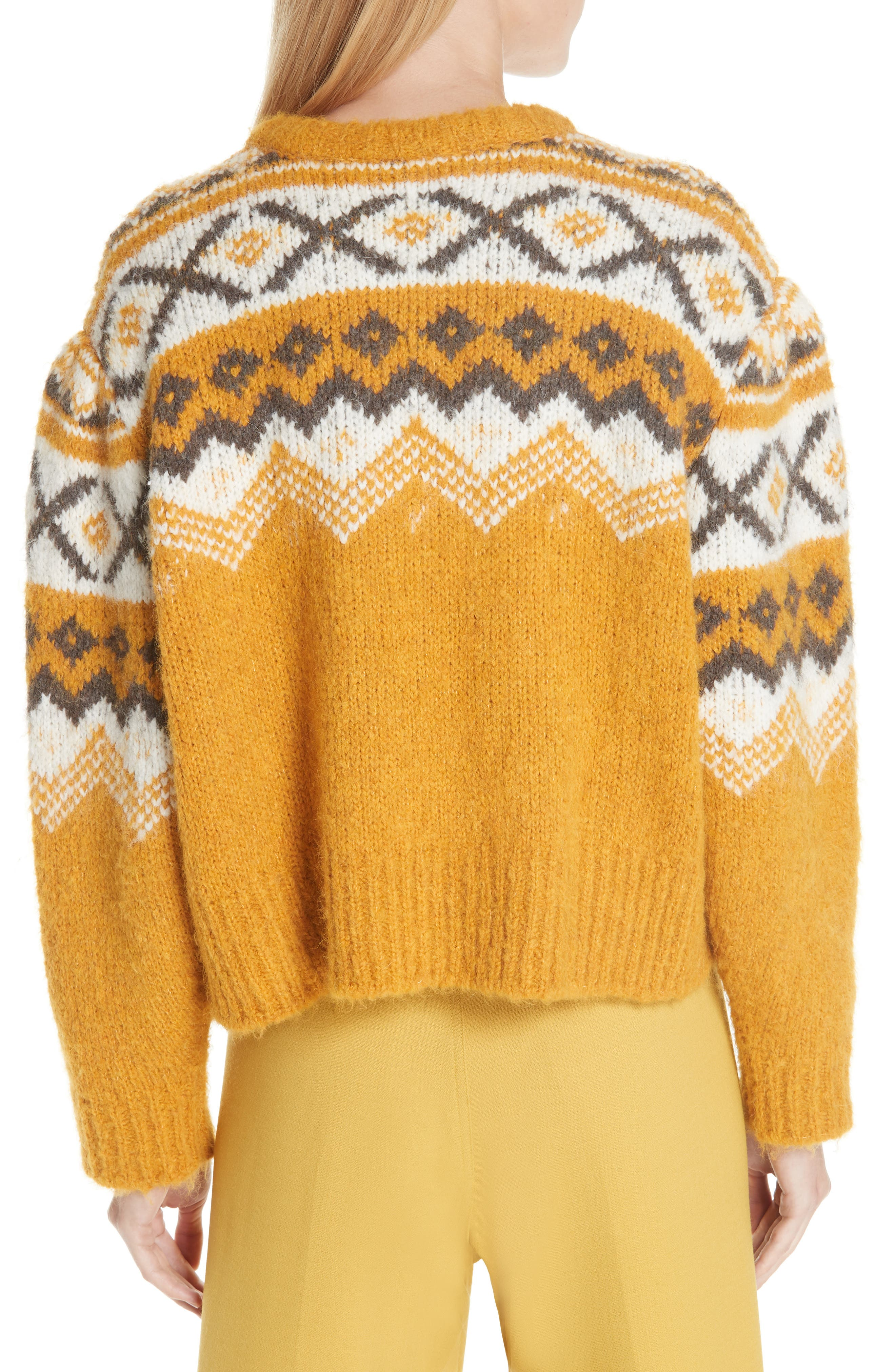 Fair Isle Shirred Sleeve Sweater,                             Alternate thumbnail 2, color,                             YELLOW