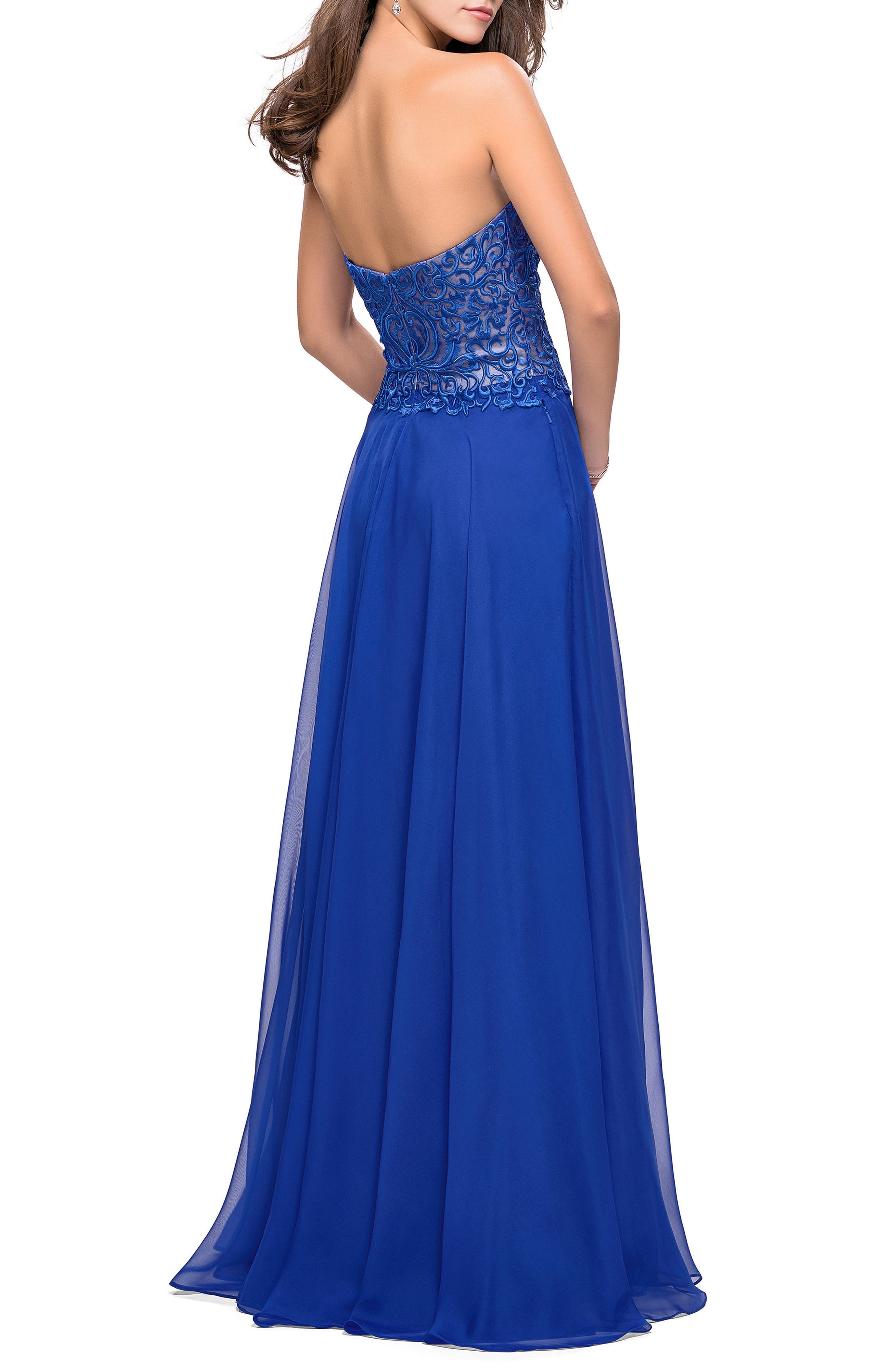 Strapless Chiffon Gown,                             Alternate thumbnail 2, color,                             402