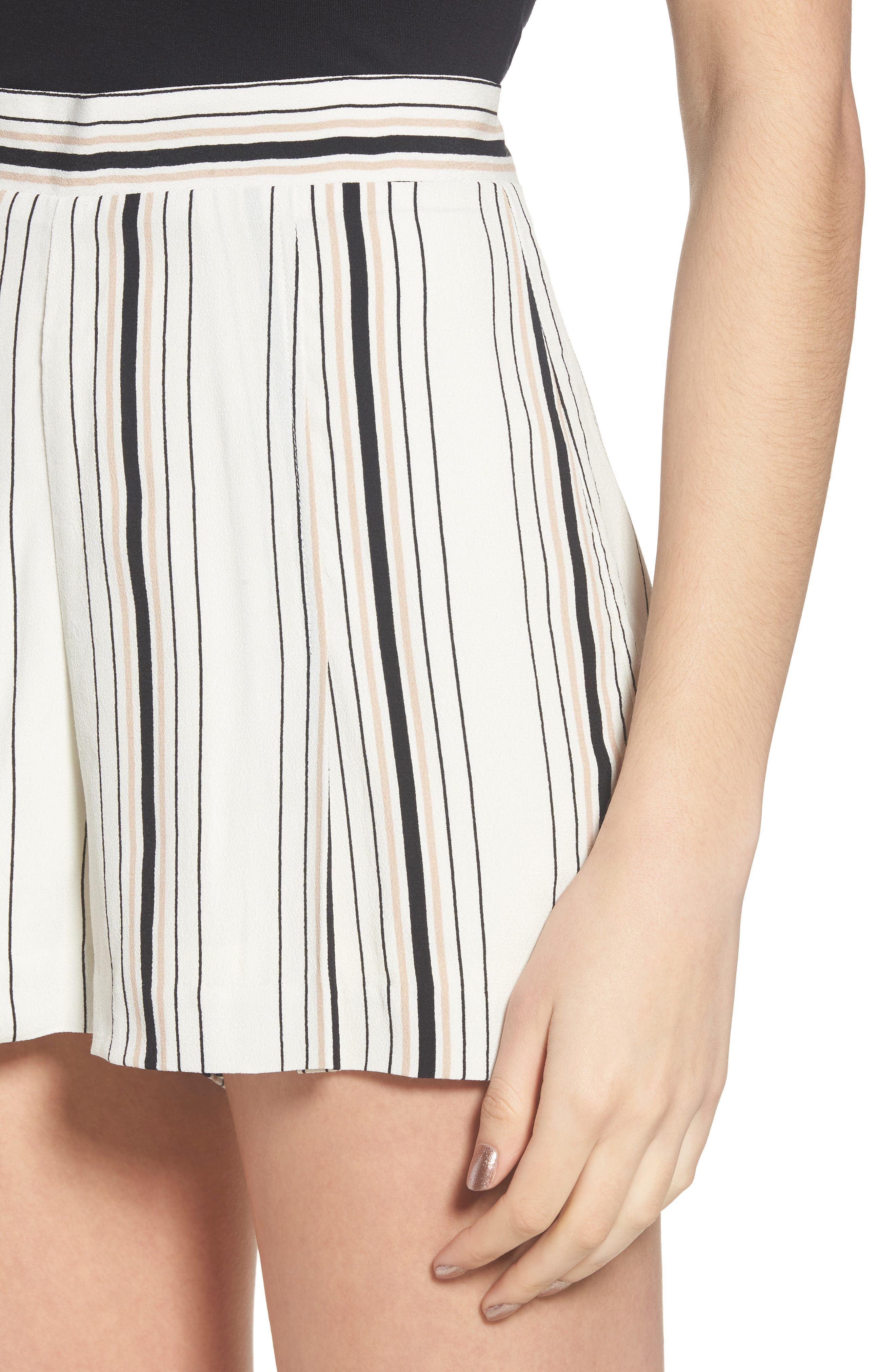 Stripe High Waist Woven Shorts,                             Alternate thumbnail 4, color,