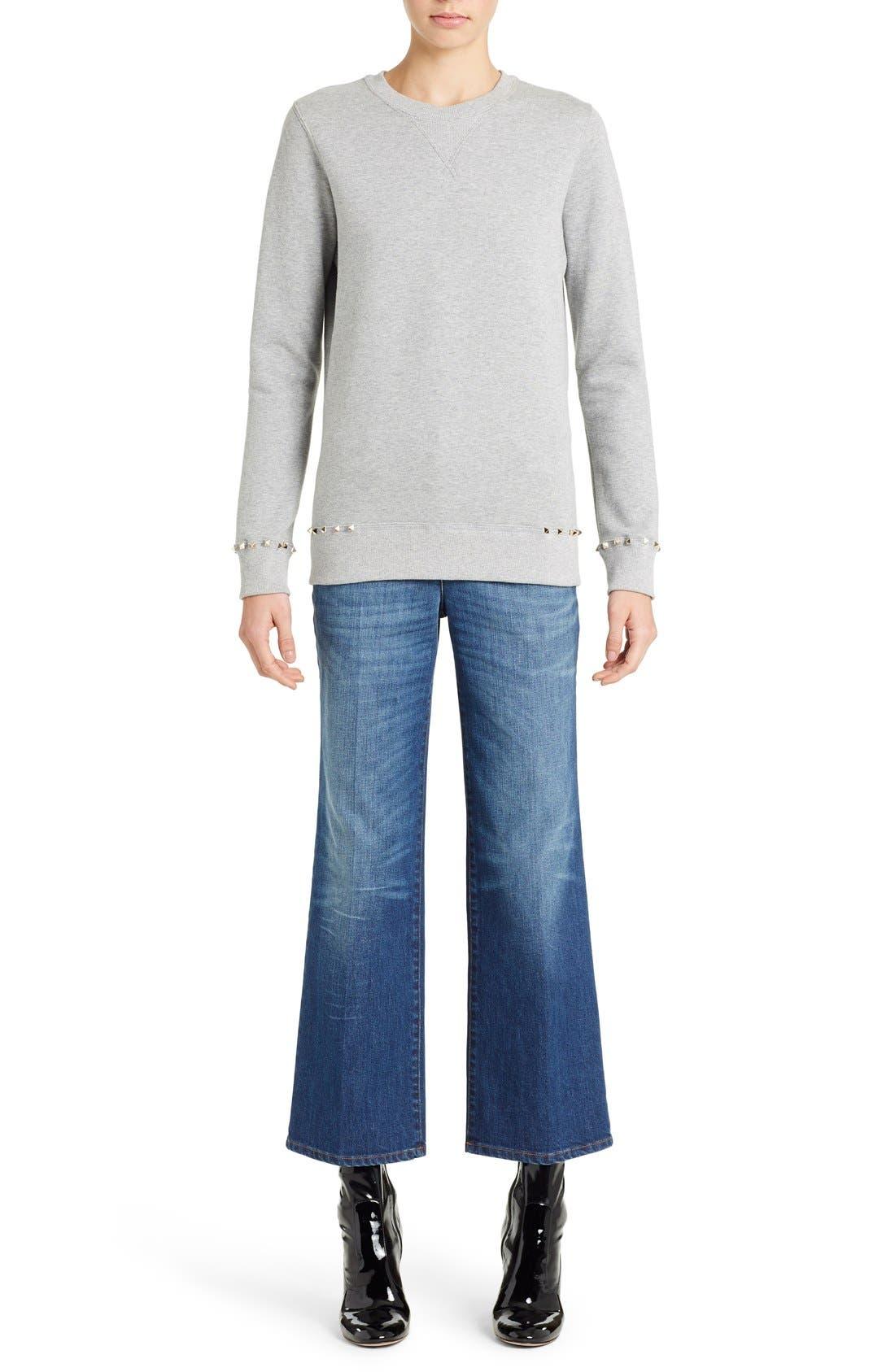 Studded Crewneck Sweatshirt,                         Main,                         color, GREY