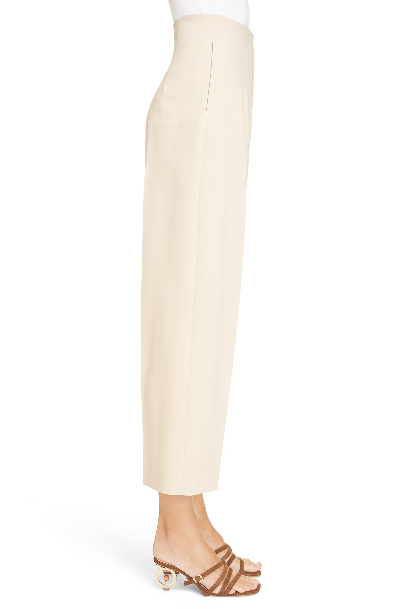 Le Pantalon Droit High Waist Crop Pants,                             Alternate thumbnail 3, color,                             250