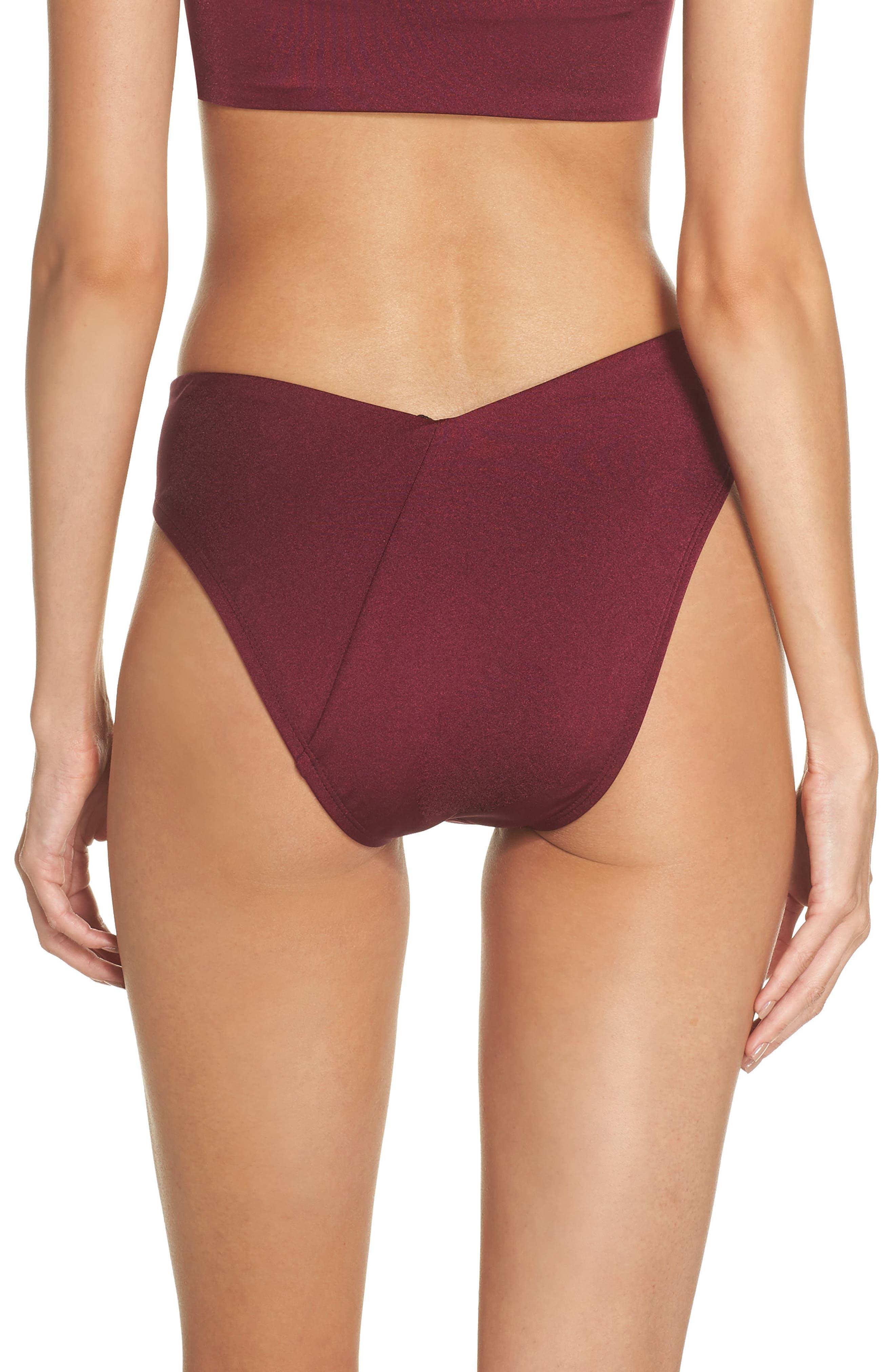 Riviera High Waist Bikini Bottoms,                             Alternate thumbnail 2, color,                             BURGUNDY FIELD