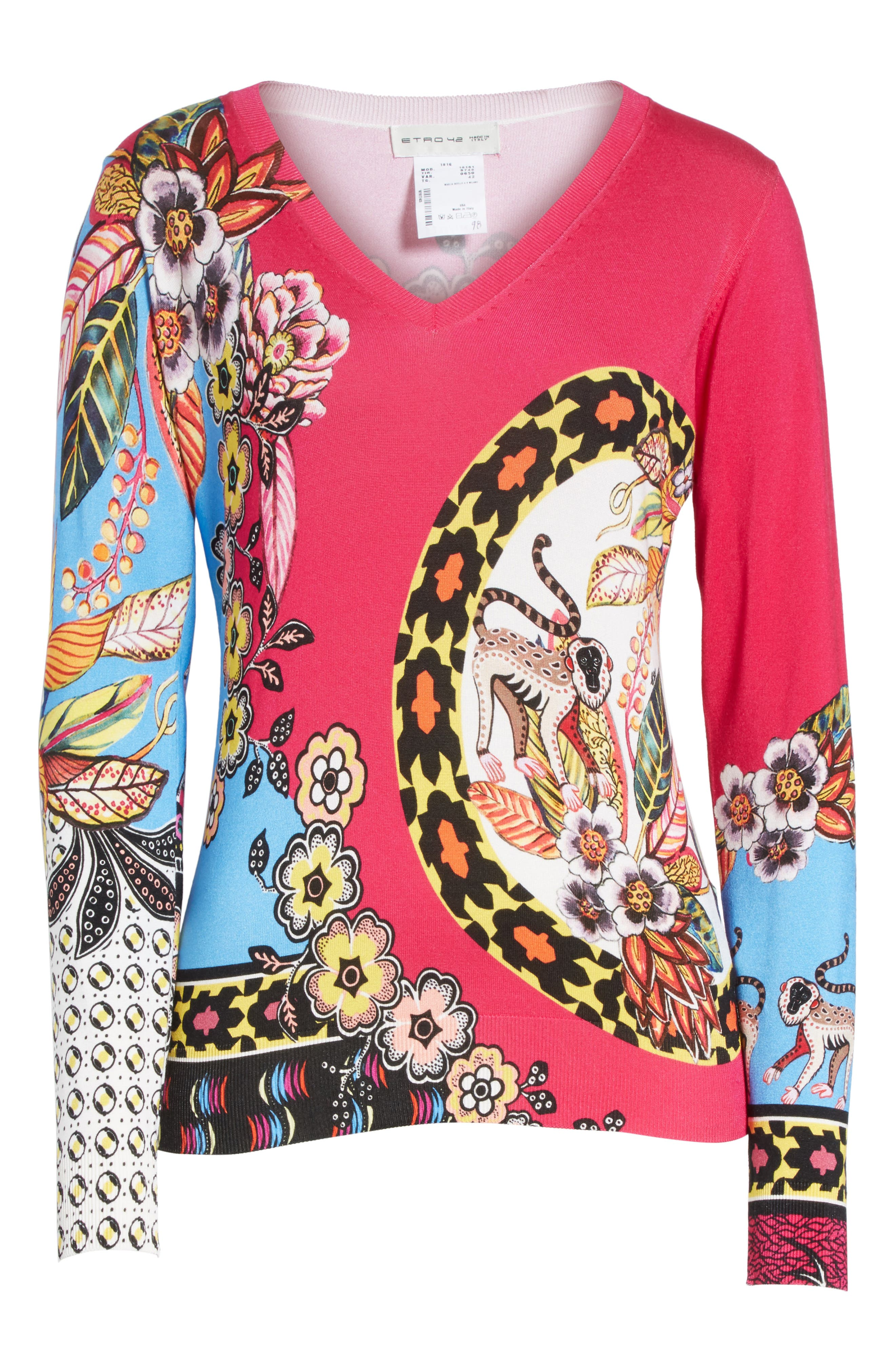 Animal Jungle Stretch Silk Sweater,                             Alternate thumbnail 6, color,