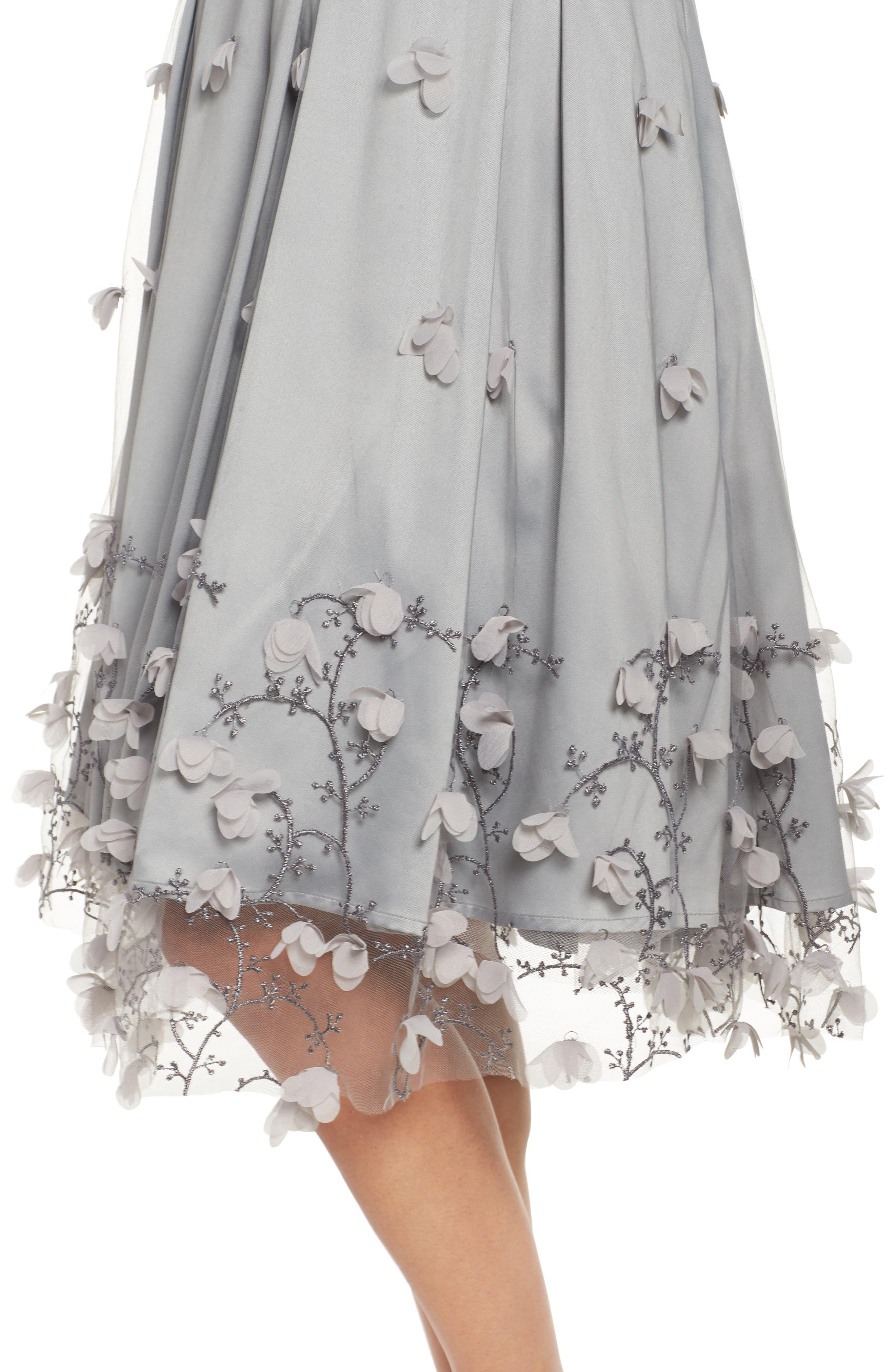 Floral Appliqué Ball Skirt,                             Alternate thumbnail 4, color,                             030