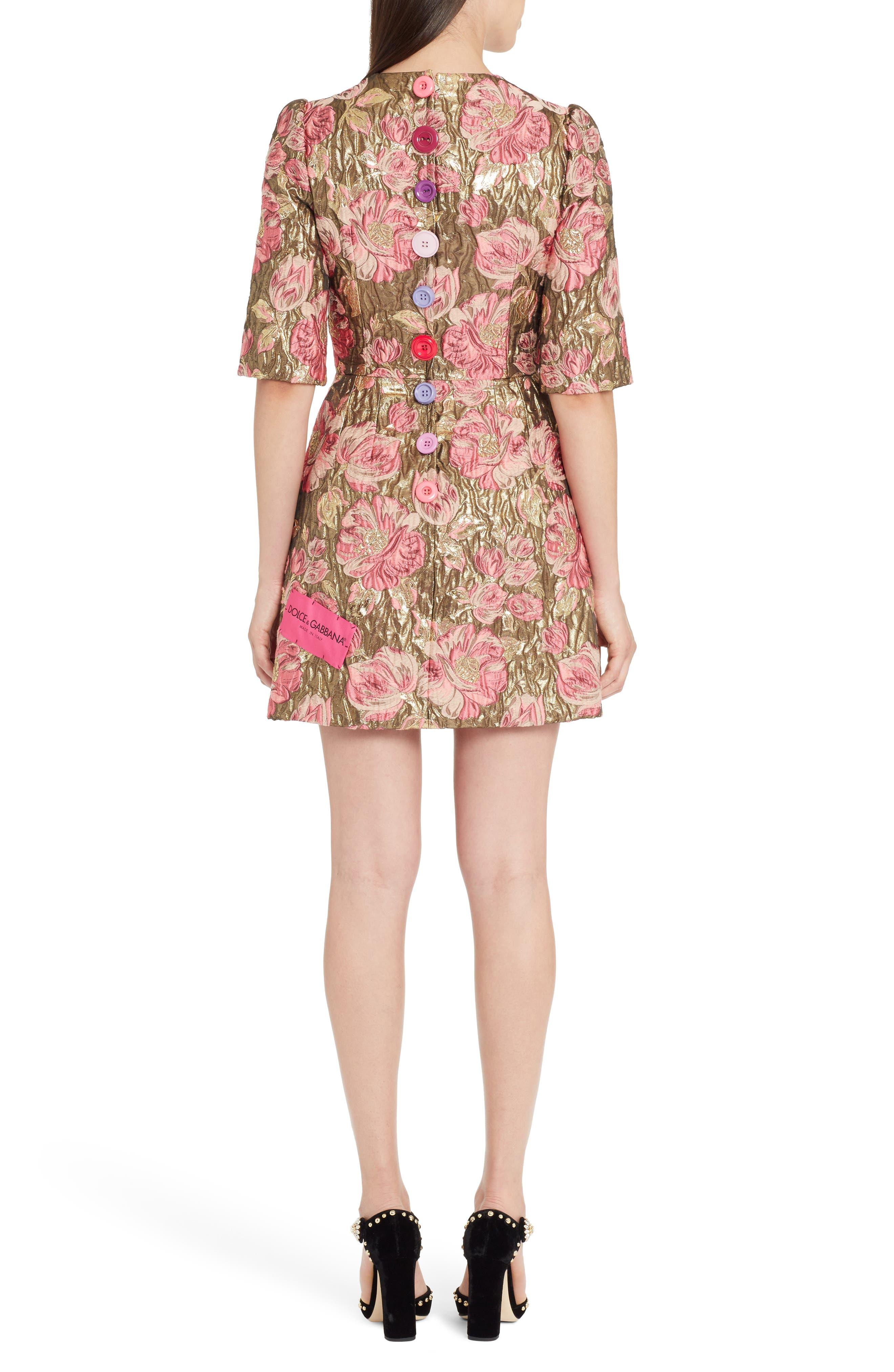 Heart Patch Metallic Floral Jacquard Dress,                             Alternate thumbnail 2, color,