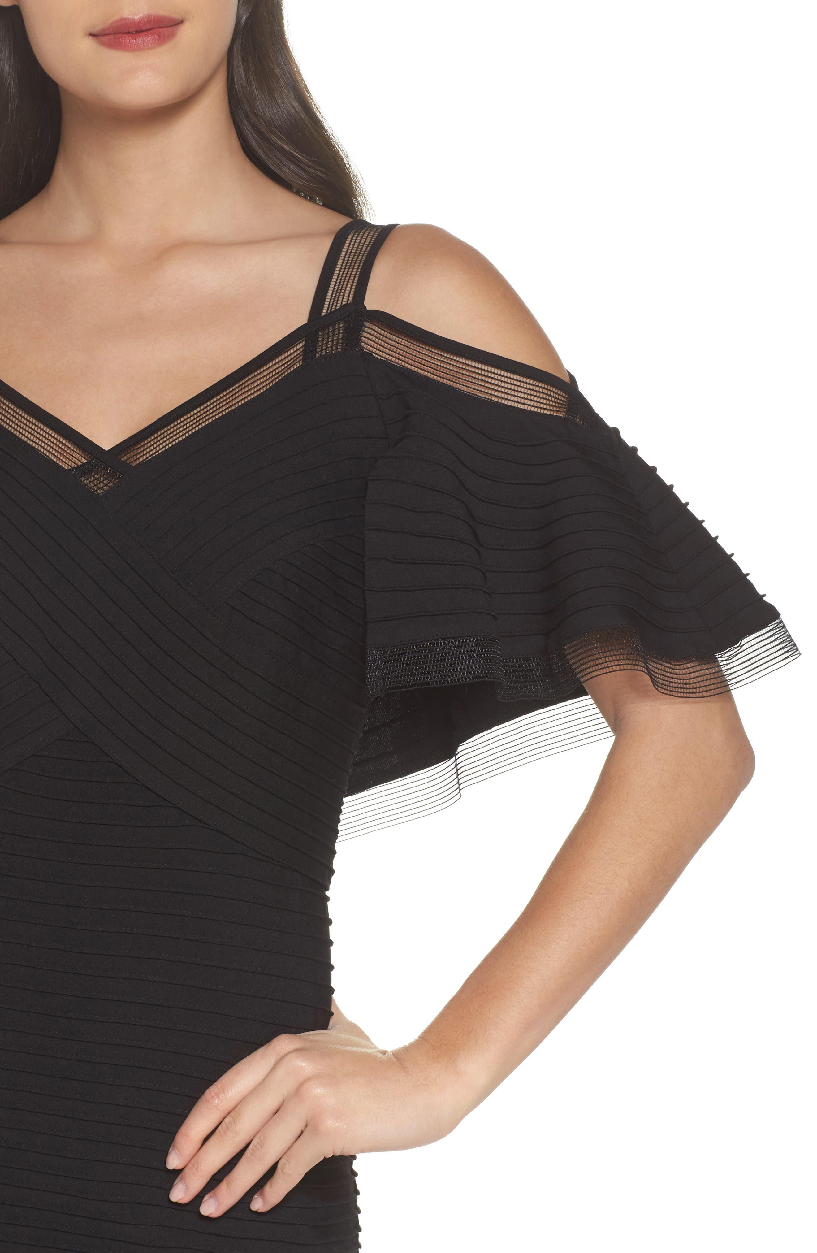 Cold Shoulder Cocktail Dress,                             Alternate thumbnail 4, color,