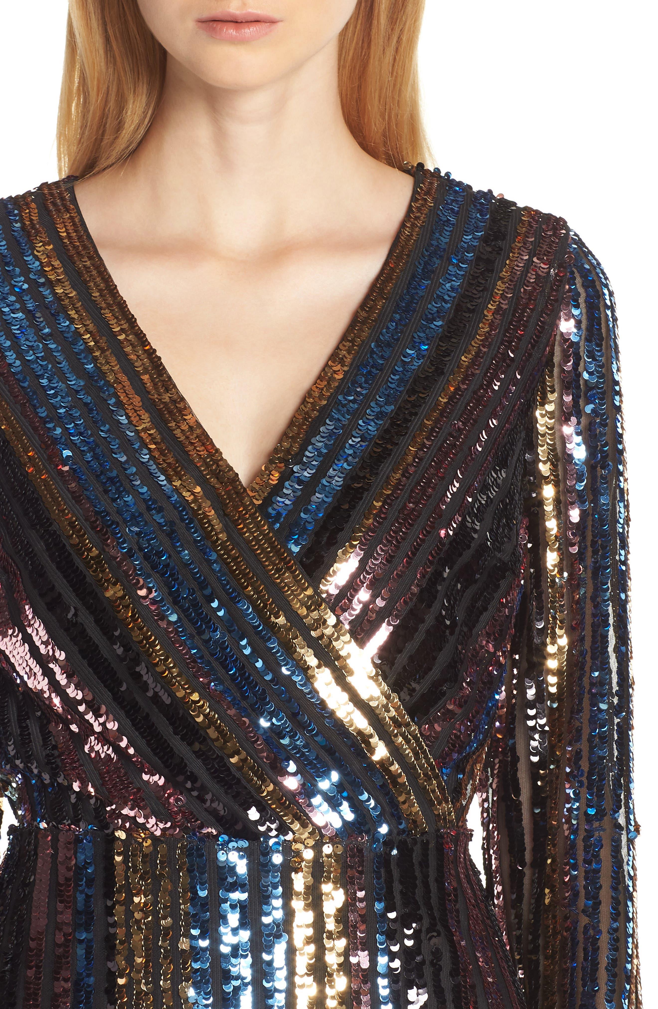 Sam Edleman Rainbow Stripe Sequin Wrap Front Dress,                             Alternate thumbnail 4, color,                             RAINBOW