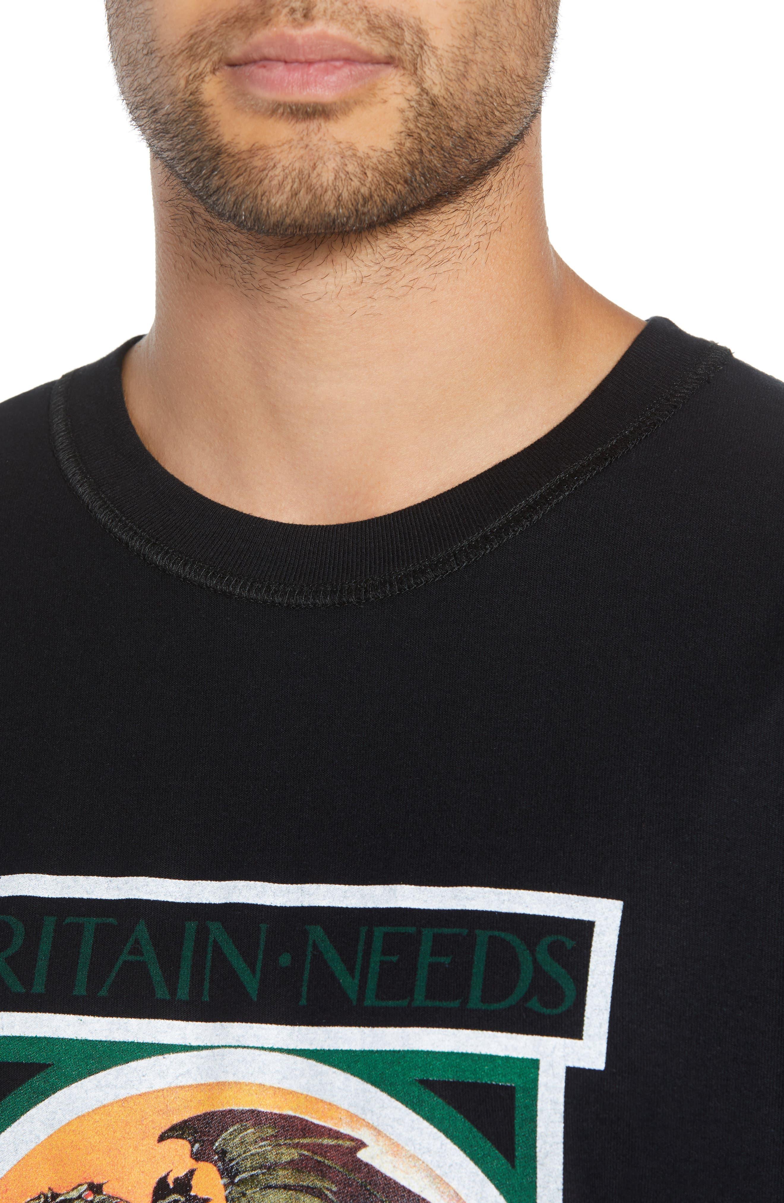 George/Dragon Graphic T-Shirt,                             Alternate thumbnail 4, color,                             BLACK