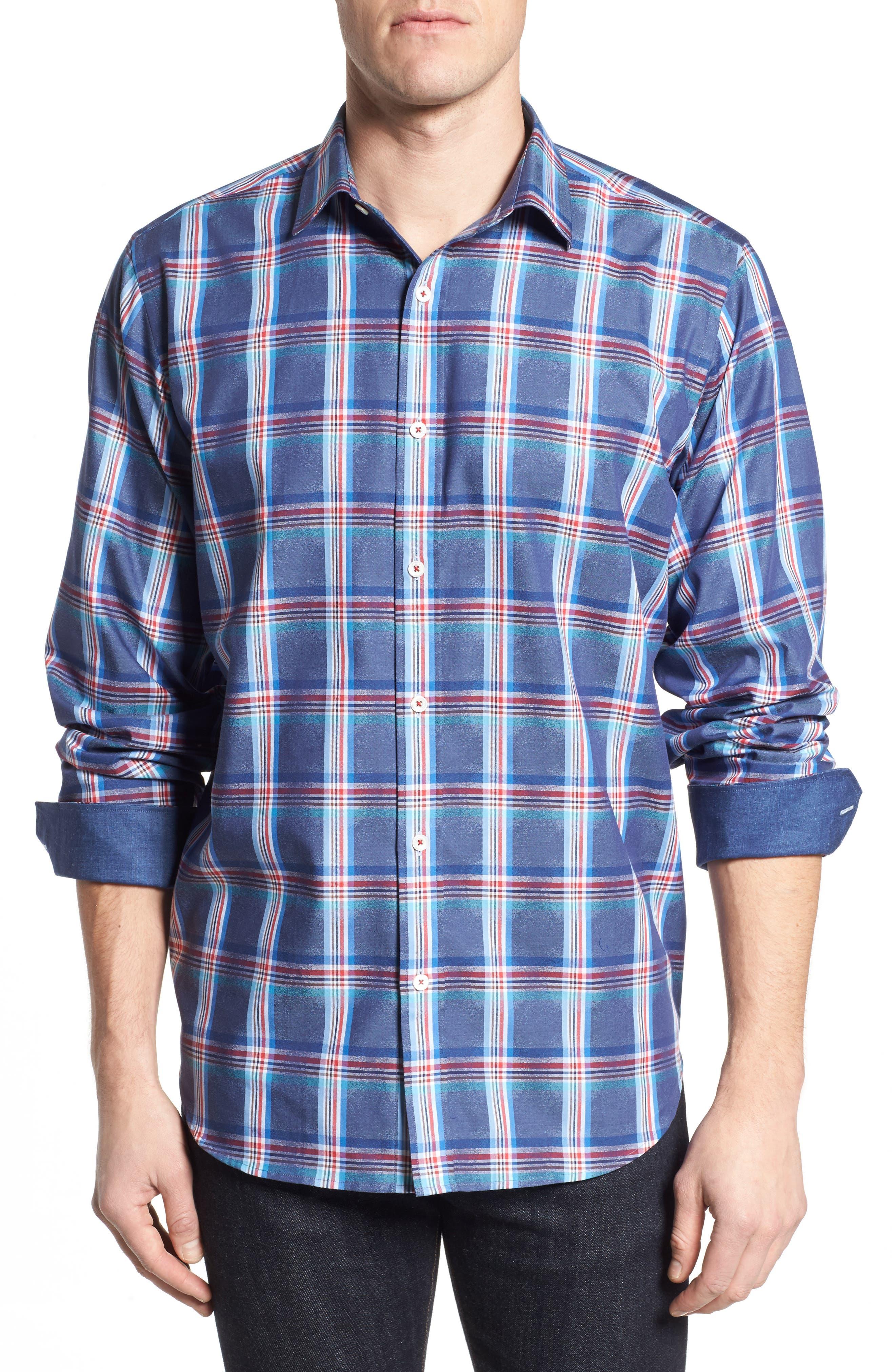 Classic Fit Plaid Sport Shirt,                             Main thumbnail 1, color,                             411