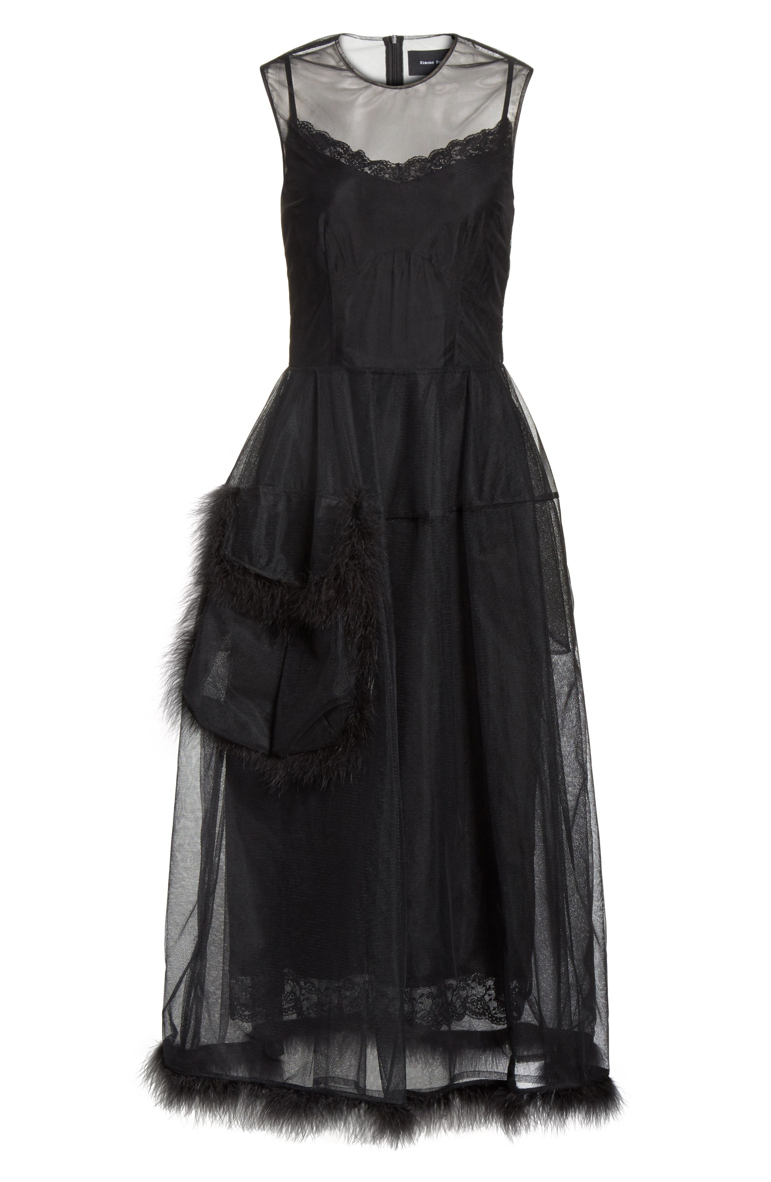 Teddy Feather Trim Tulle Dress,                             Alternate thumbnail 6, color,                             001