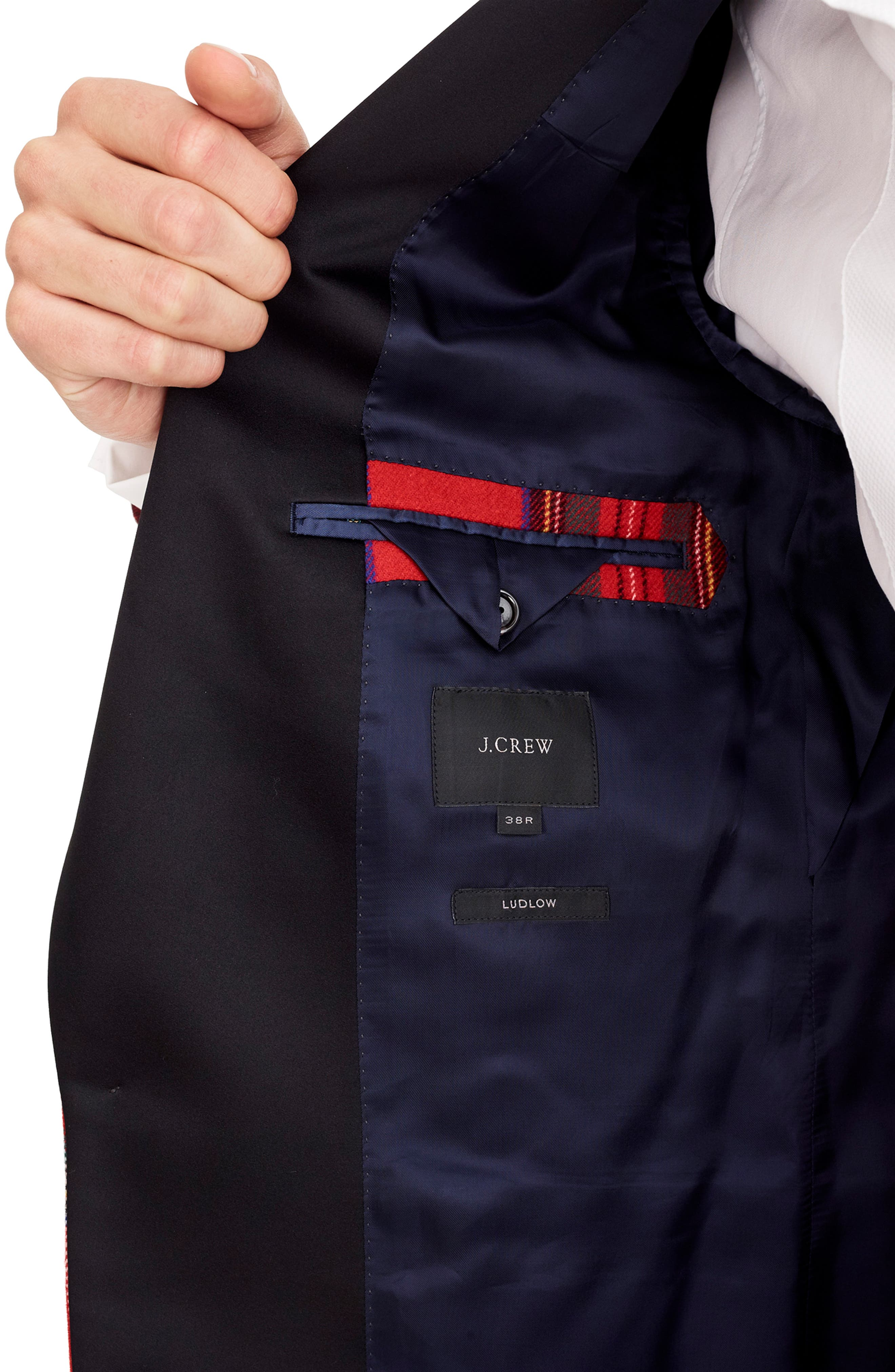 J.CREW,                             Ludlow Slim Fit Tartan Wool Blend Dinner Jacket,                             Alternate thumbnail 4, color,                             600