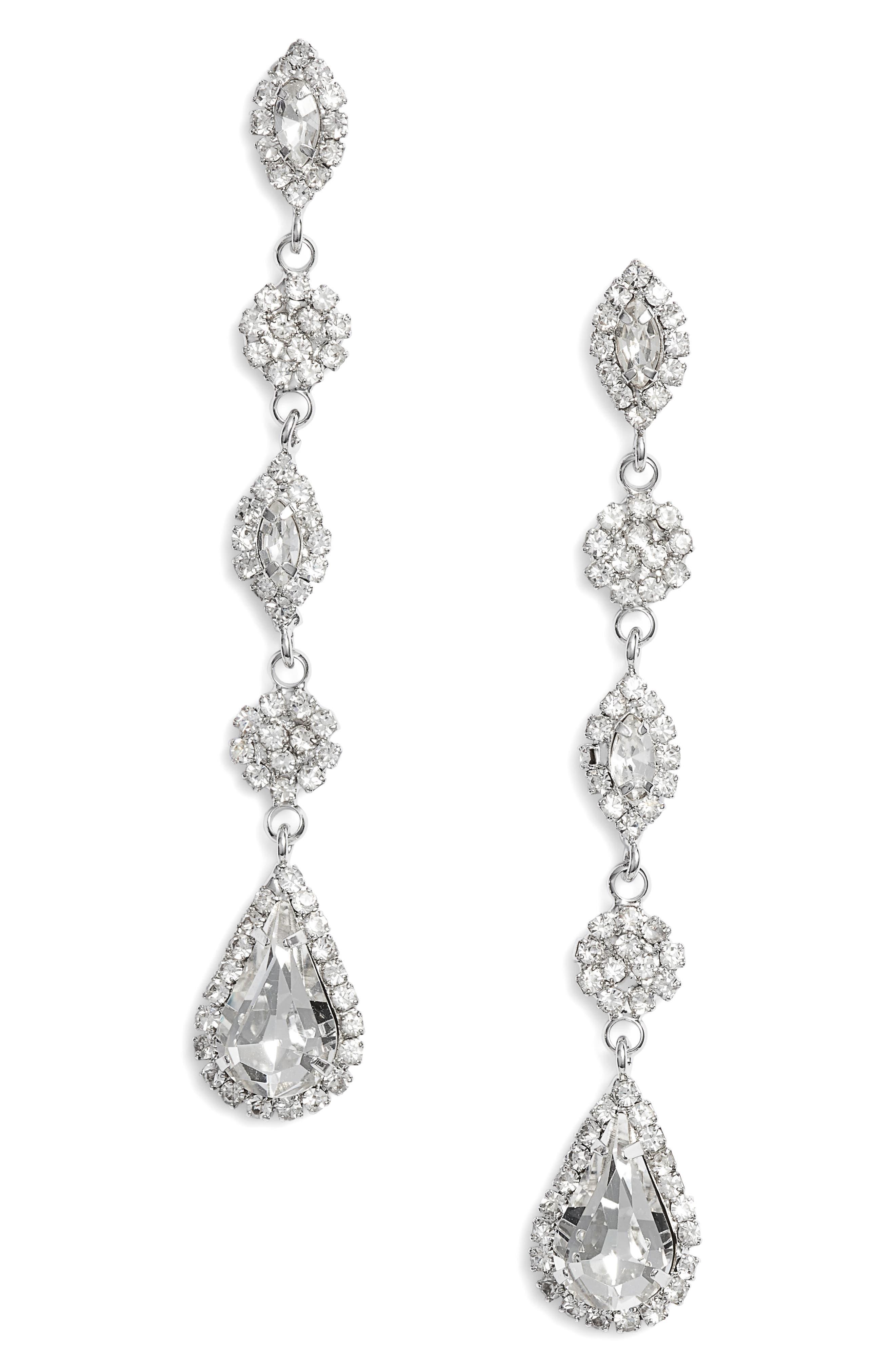 CRISTABELLE Multi Stone Linear Drop Earrings, Main, color, SILVER
