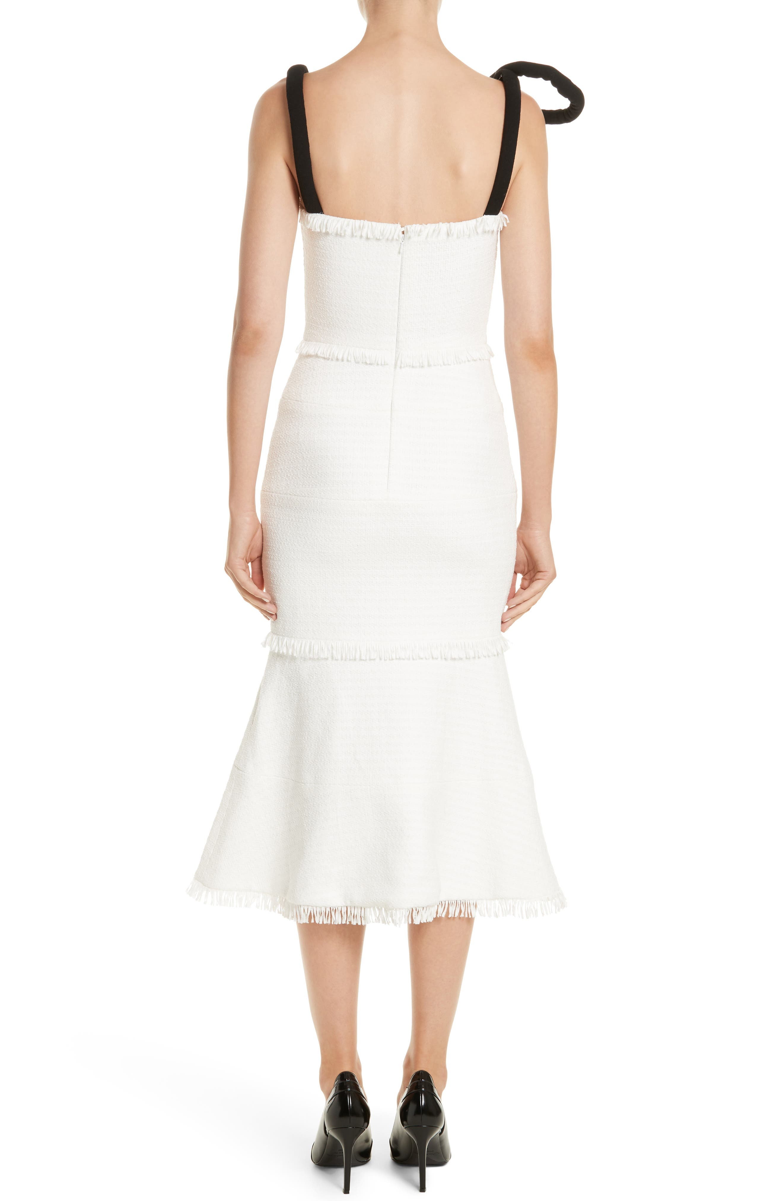 Cord Strap Ribbon Tweed Dress,                             Alternate thumbnail 2, color,                             900