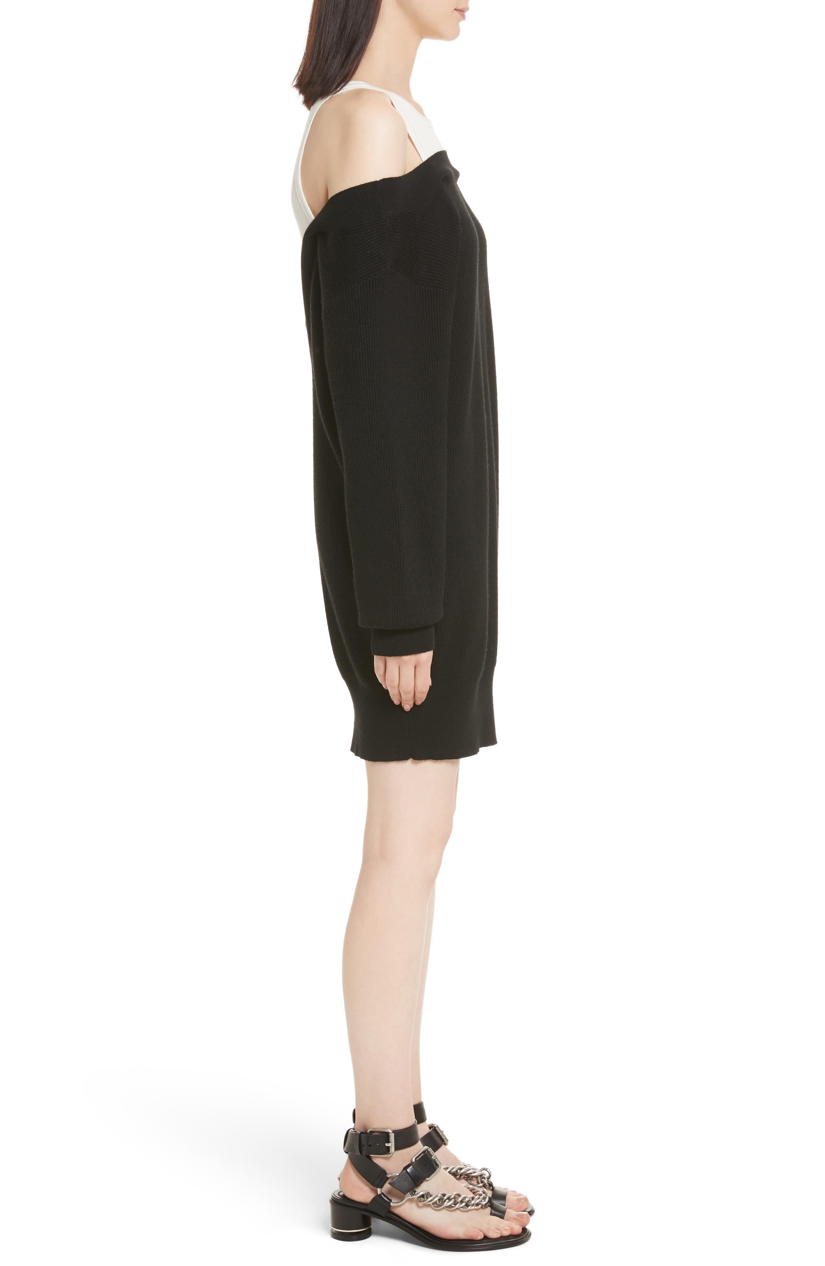 T by Alexander Wang Bi-Layer Knit Dress with Inner Tank,                             Alternate thumbnail 3, color,                             018