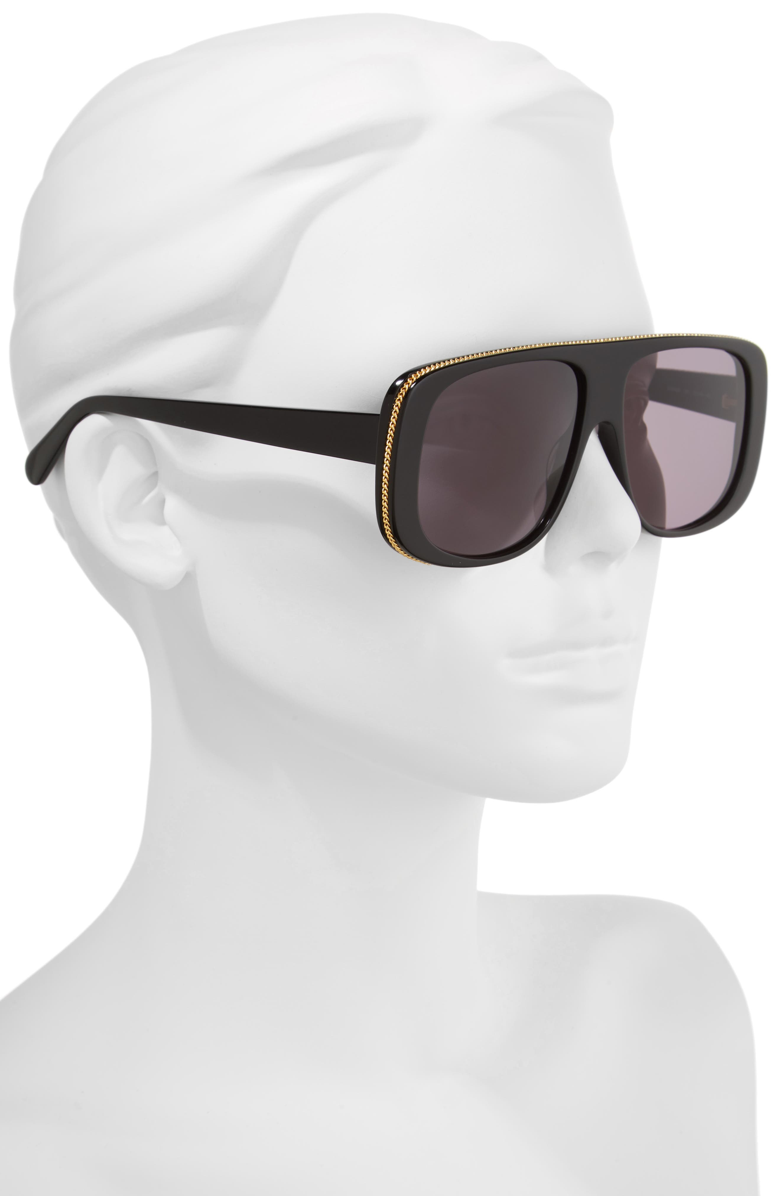 57mm Flat Top Sunglasses,                             Alternate thumbnail 2, color,                             BLACK/ GREY