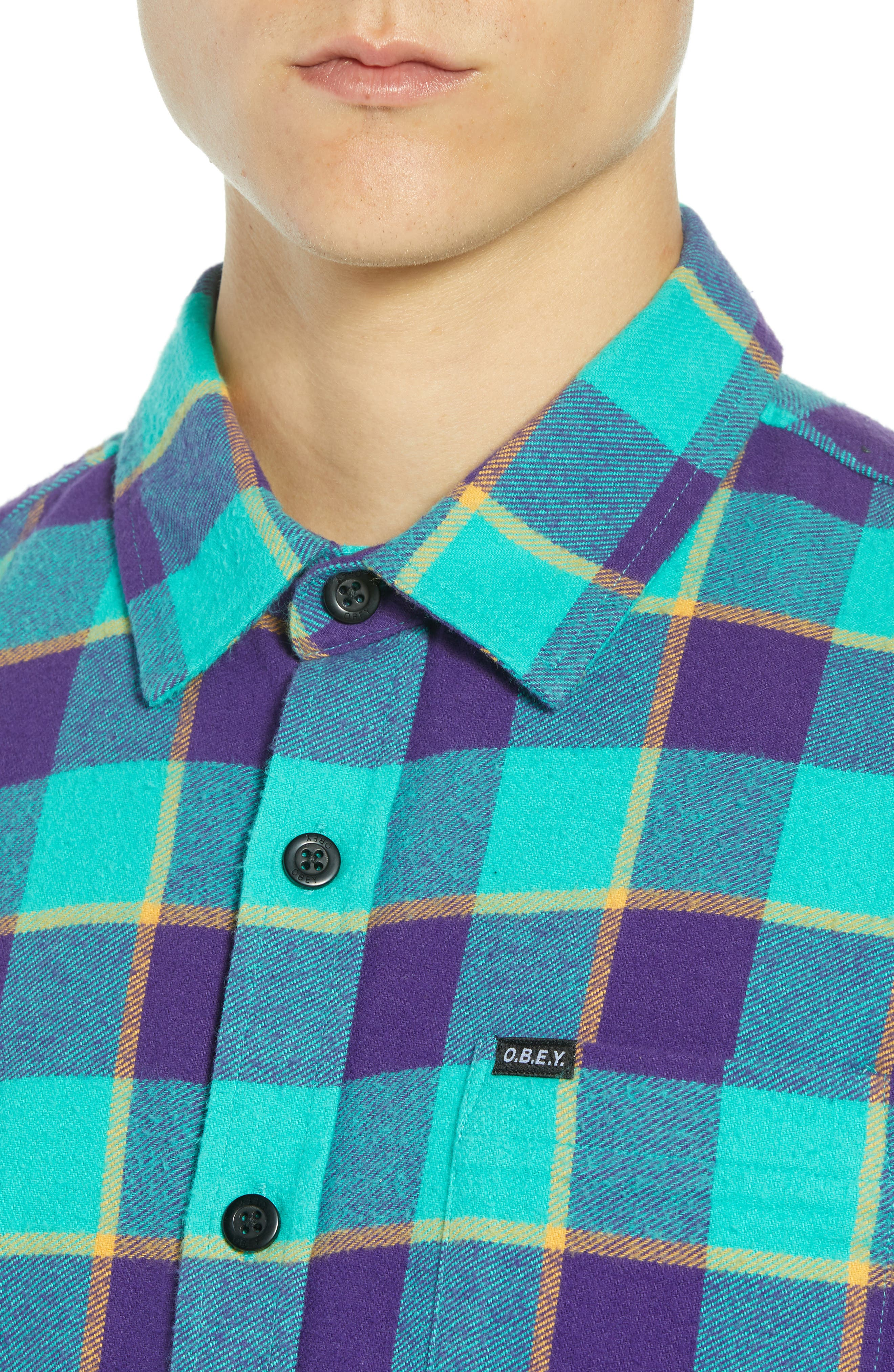 Ventura Plaid Flannel Shirt,                             Alternate thumbnail 2, color,                             TEAL MULTI