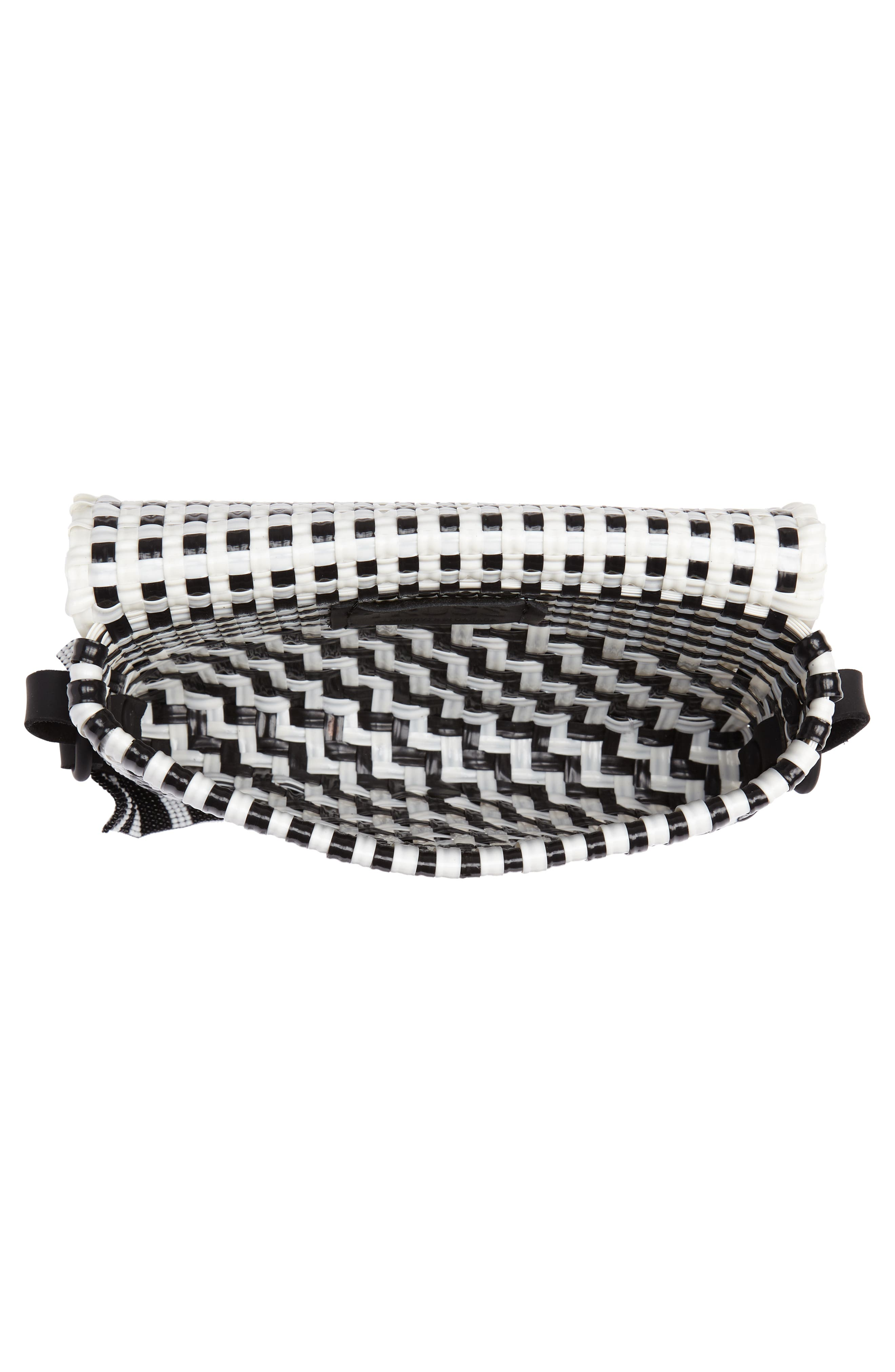Woven Baguette Shoulder Bag,                             Alternate thumbnail 4, color,                             BLACK/ WHITE