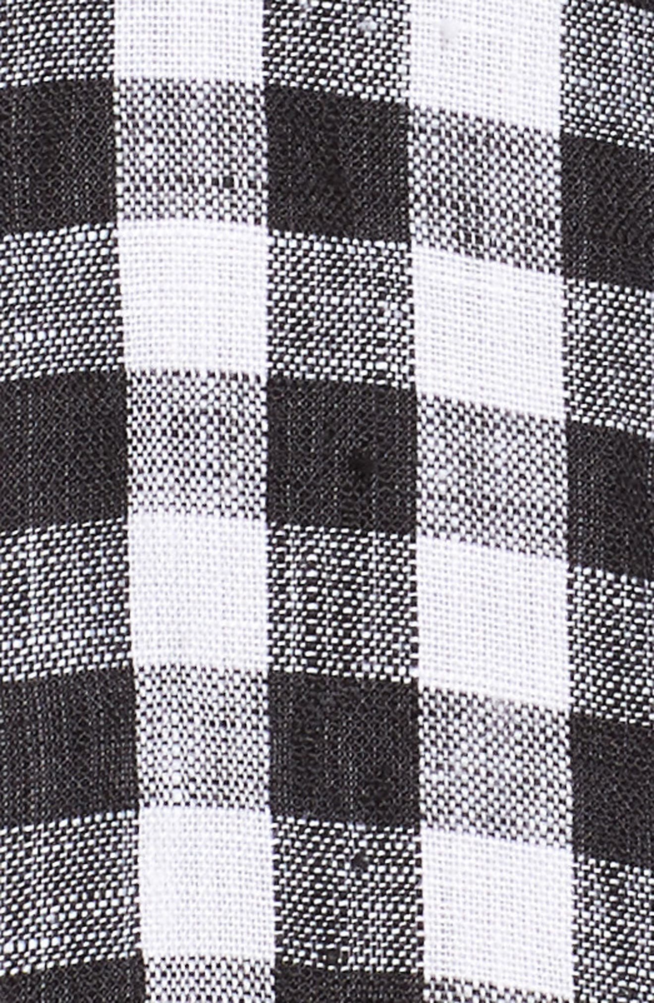 Mandarin Collar Gingham Linen Top,                             Alternate thumbnail 6, color,                             018