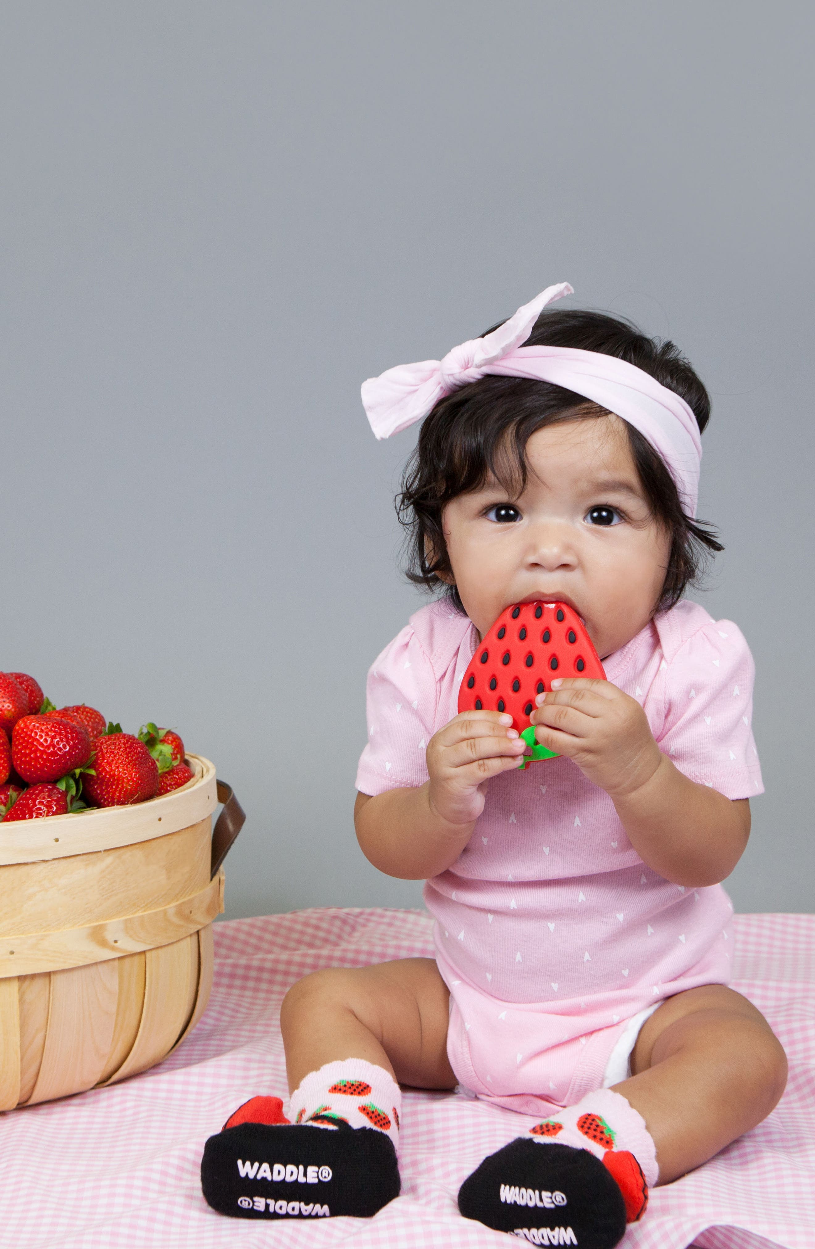 Strawberry Rattle Socks & Teether Gift Set,                             Alternate thumbnail 3, color,                             RED