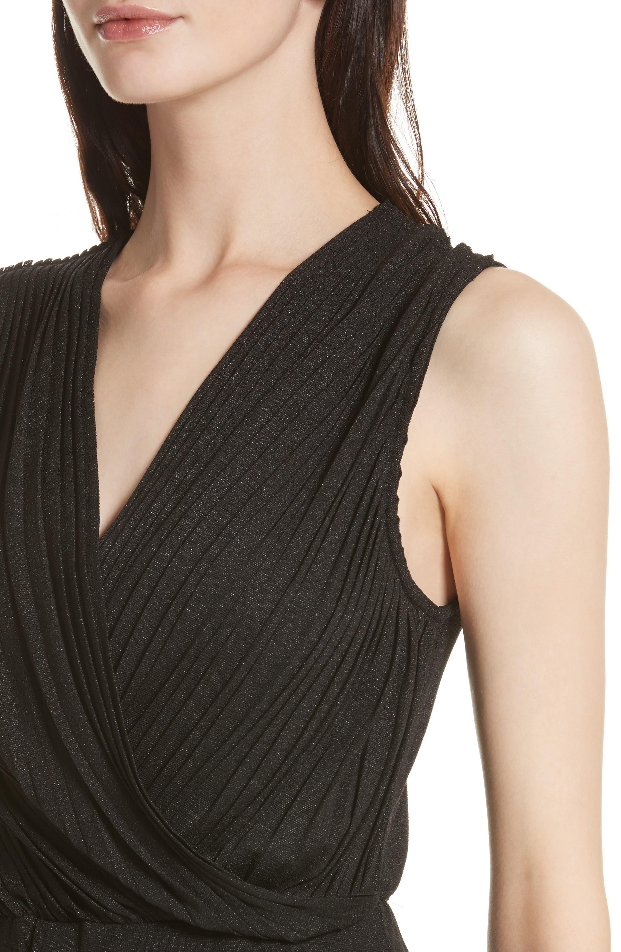 Surplice Fit & Flare Dress,                             Alternate thumbnail 4, color,                             001