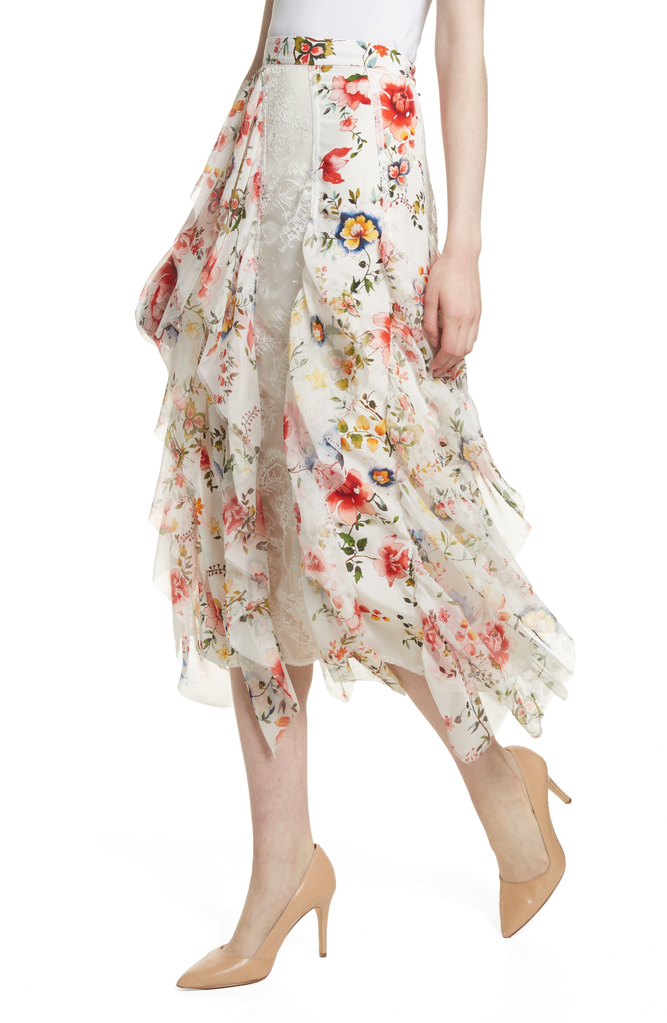 Yula Floral Silk & Lace Midi Skirt,                             Alternate thumbnail 4, color,                             908