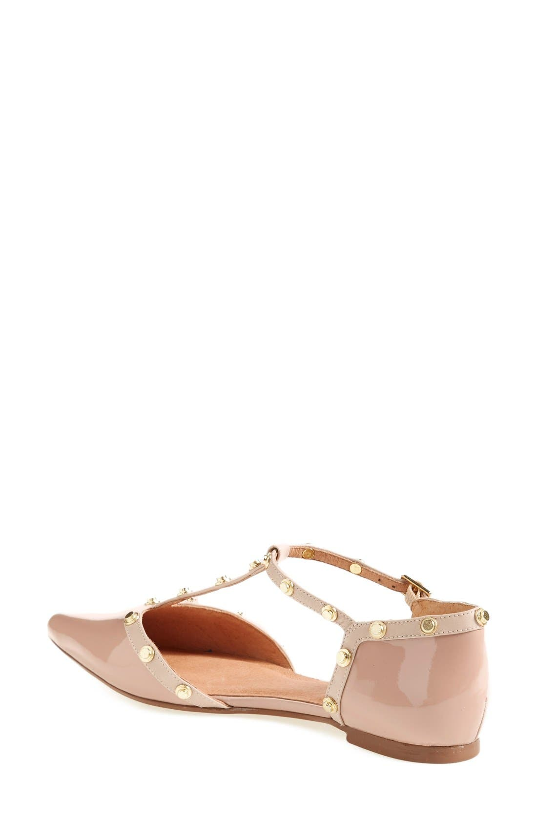 'Olson' Pointy Toe Studded T-Strap Flat,                             Alternate thumbnail 66, color,