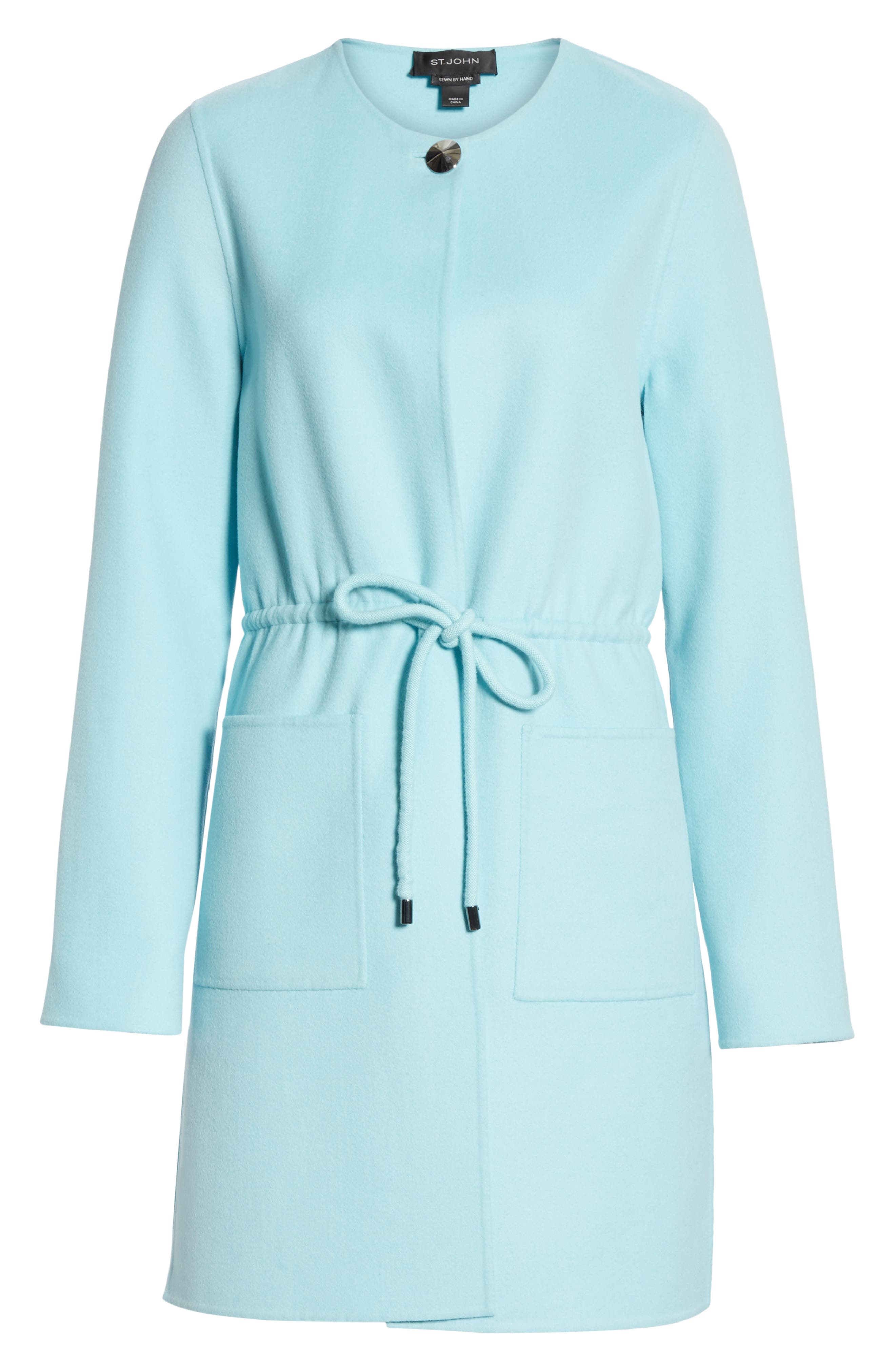 ST. JOHN COLLECTION,                             Double Face Wool & Cashmere Jacket,                             Alternate thumbnail 6, color,                             AQUAMARINE