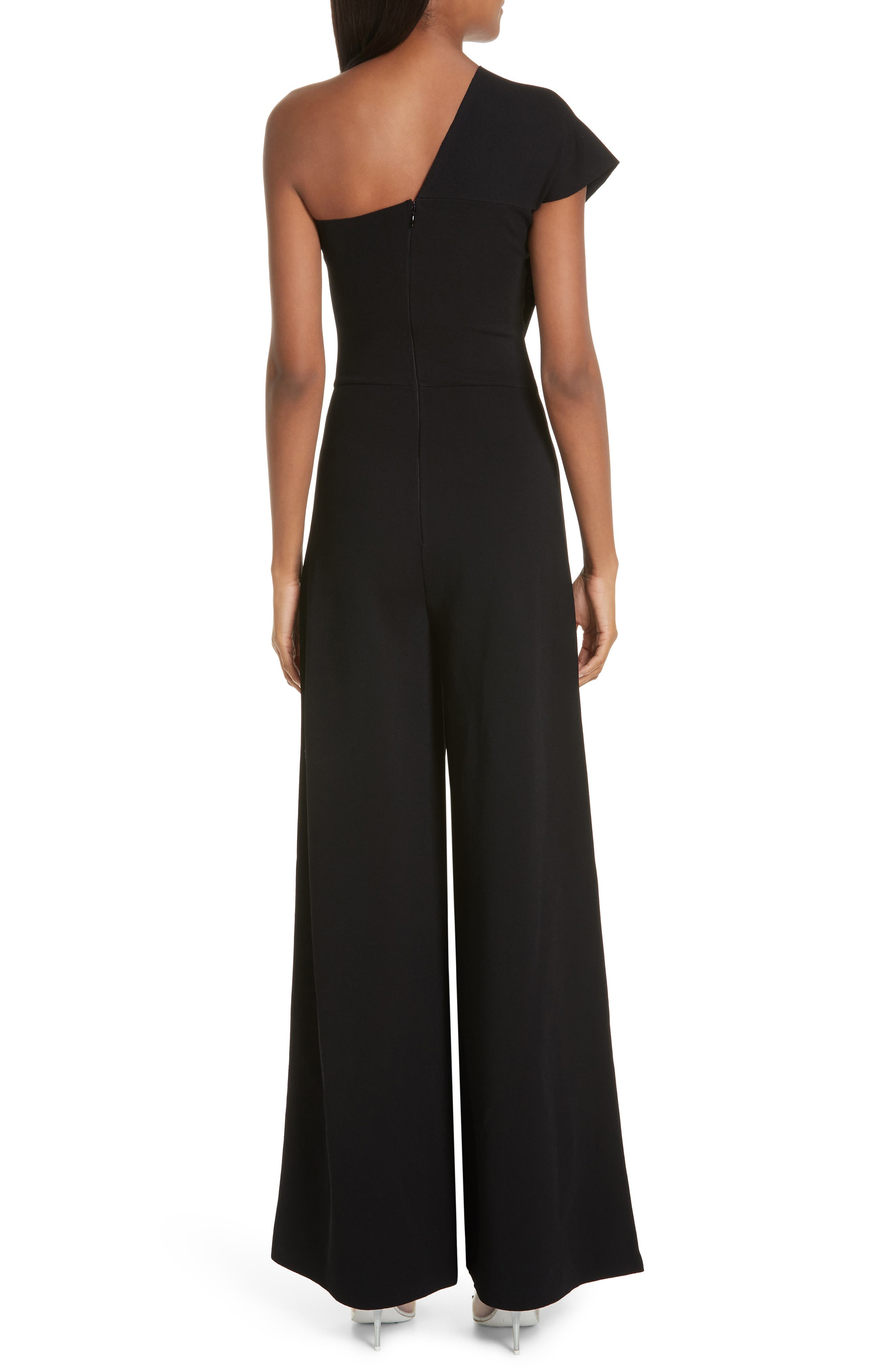 One-Shoulder Wide Leg Knit Jumpsuit,                             Alternate thumbnail 2, color,                             BLACK