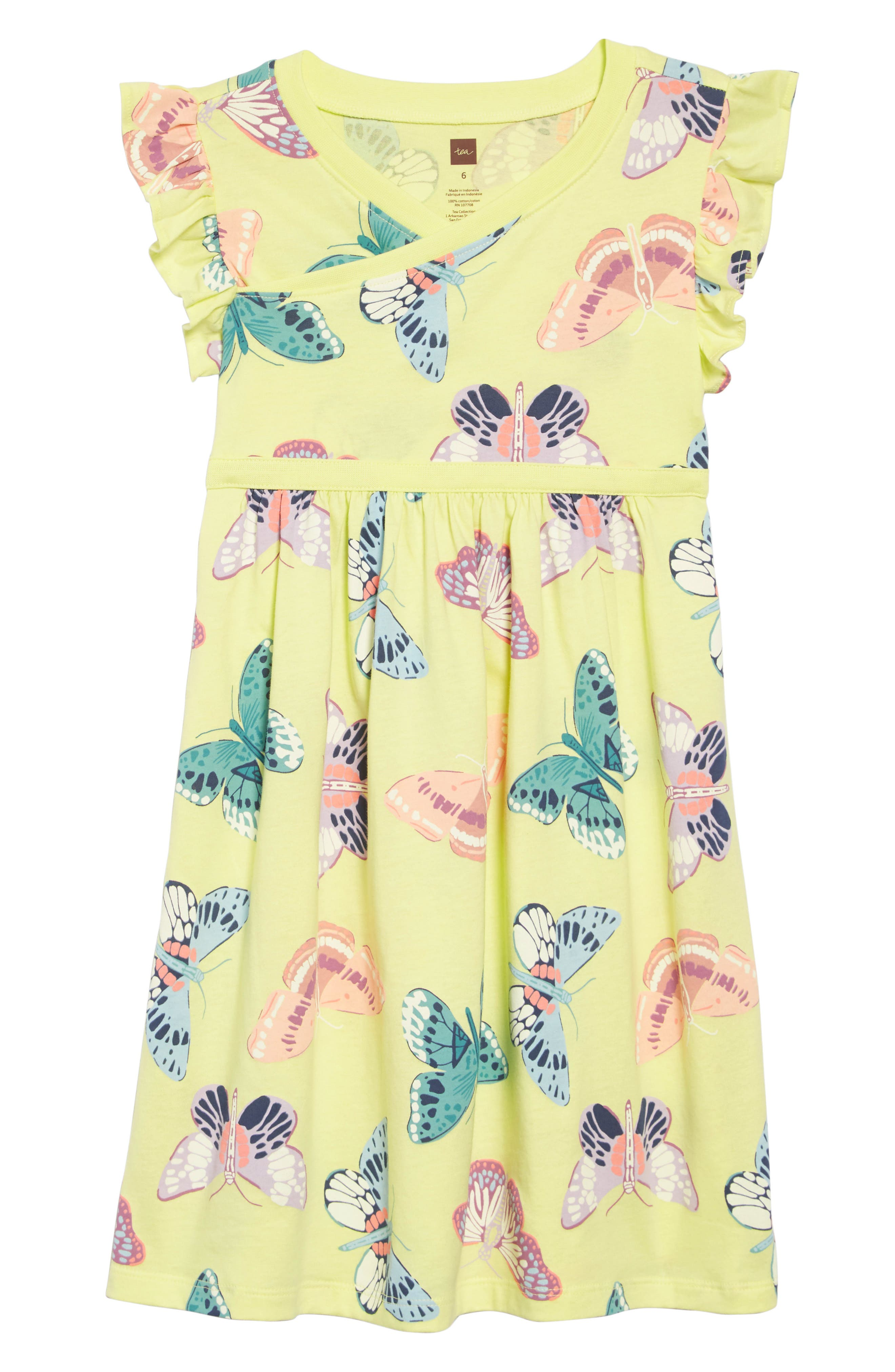 TEA COLLECTION Butterfly Dress, Main, color, GOSSAMER GLOW - KIWI