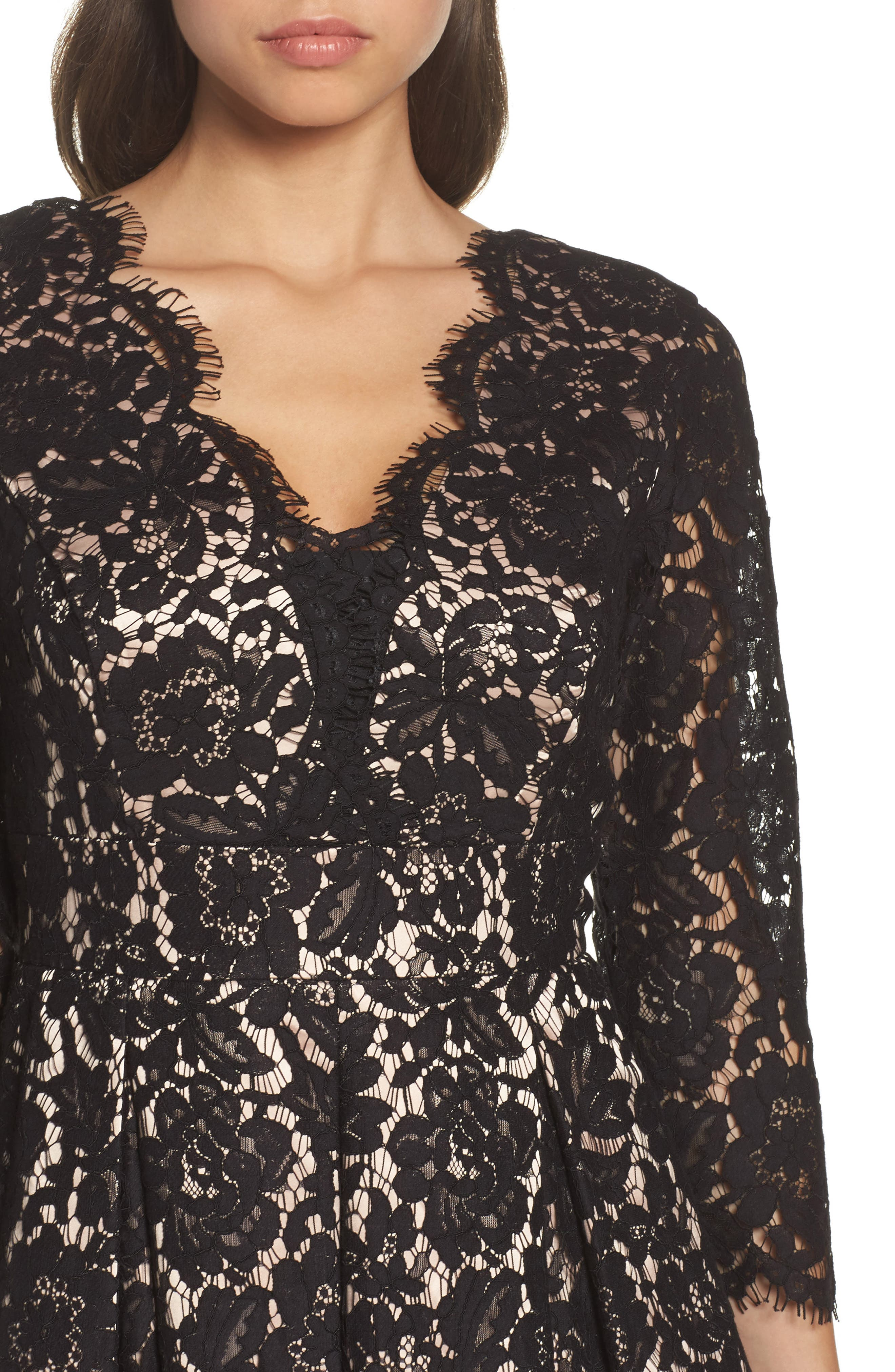 Lace Fit & Flare Dress,                             Alternate thumbnail 4, color,                             001