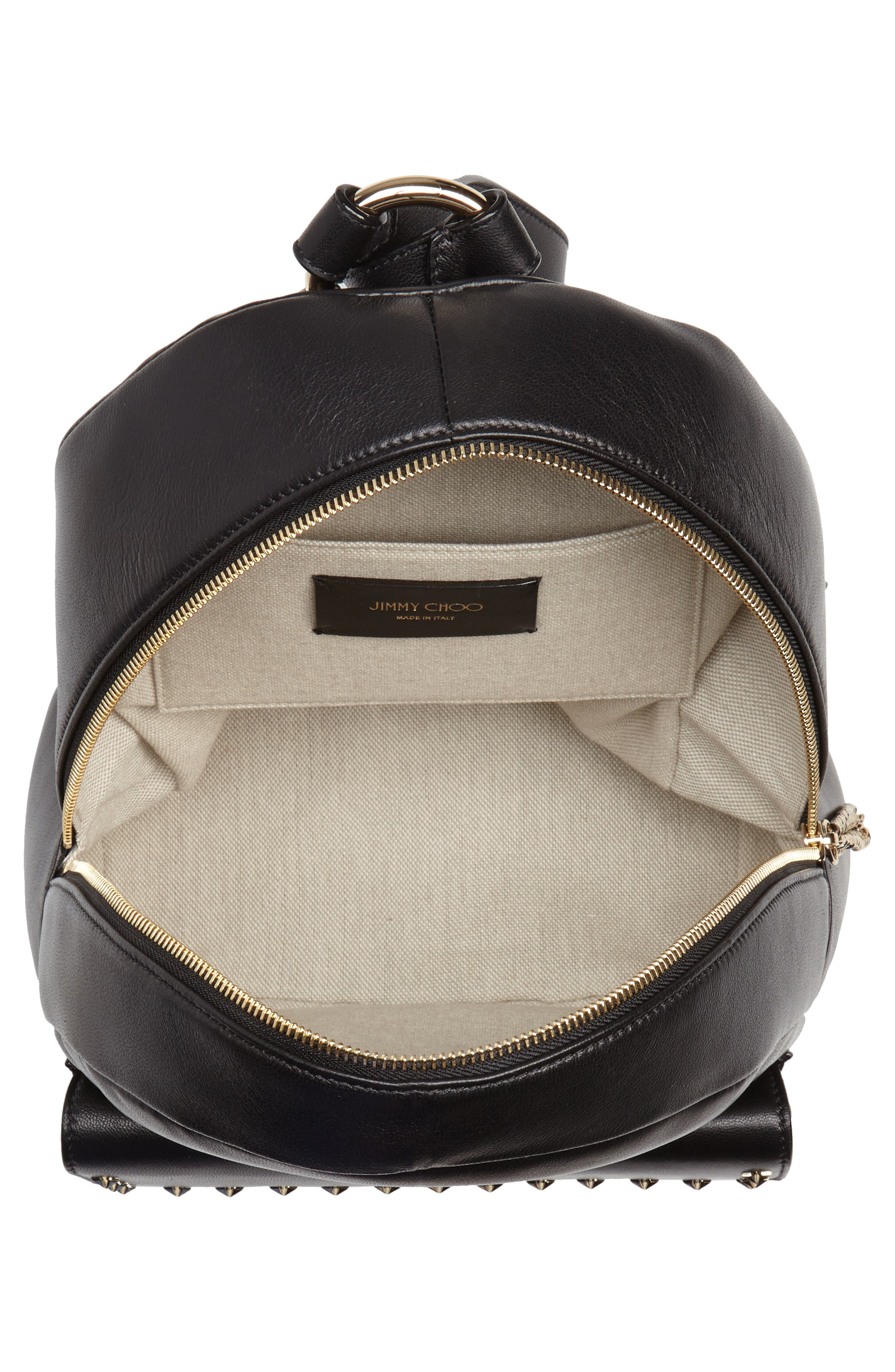 Cassie Star Studded Lambskin Leather Backpack,                             Alternate thumbnail 4, color,                             BLACK