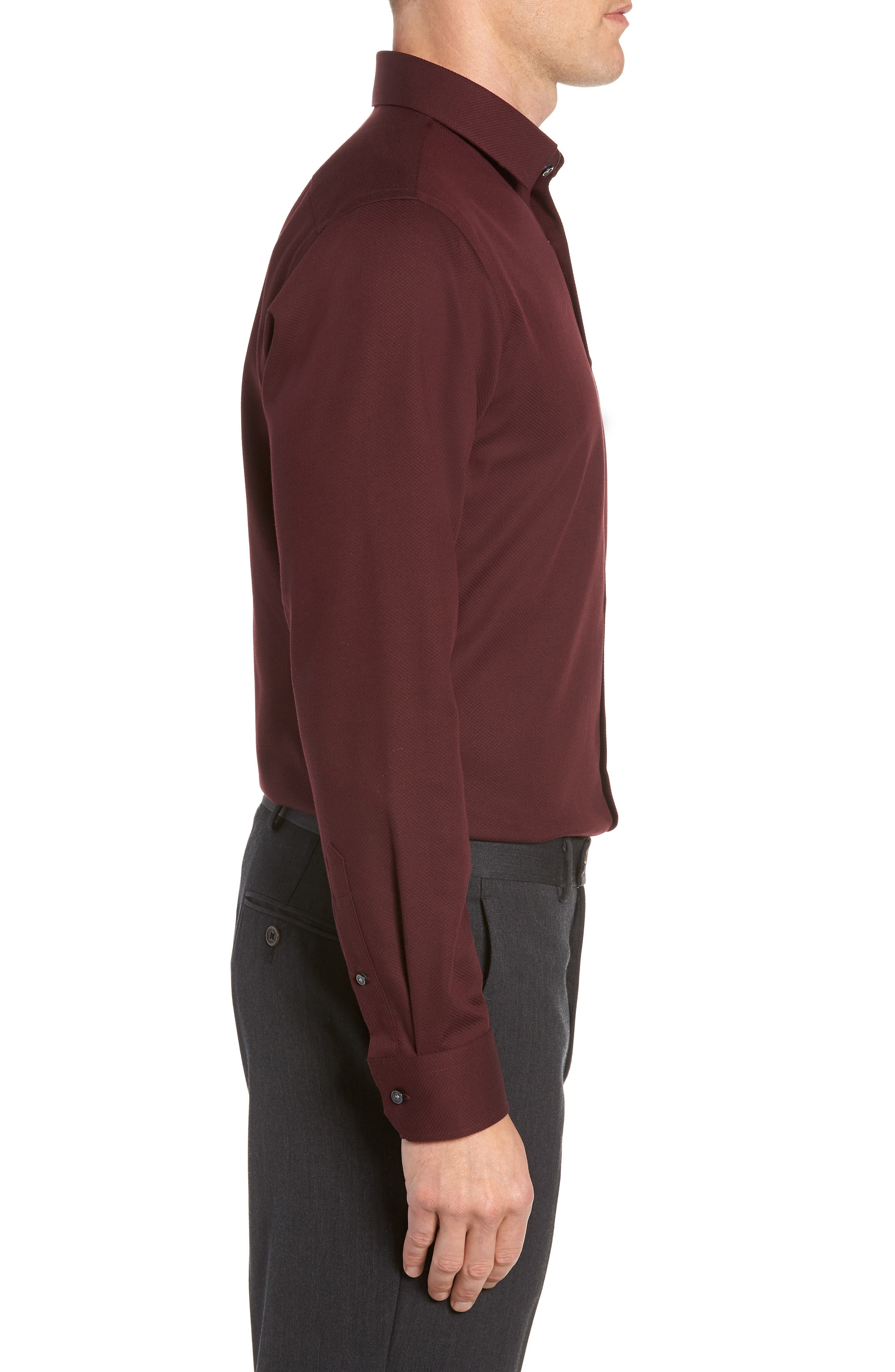 Trim Fit Non-Iron Solid Dress Shirt,                             Alternate thumbnail 4, color,                             BURGUNDY ROYALE
