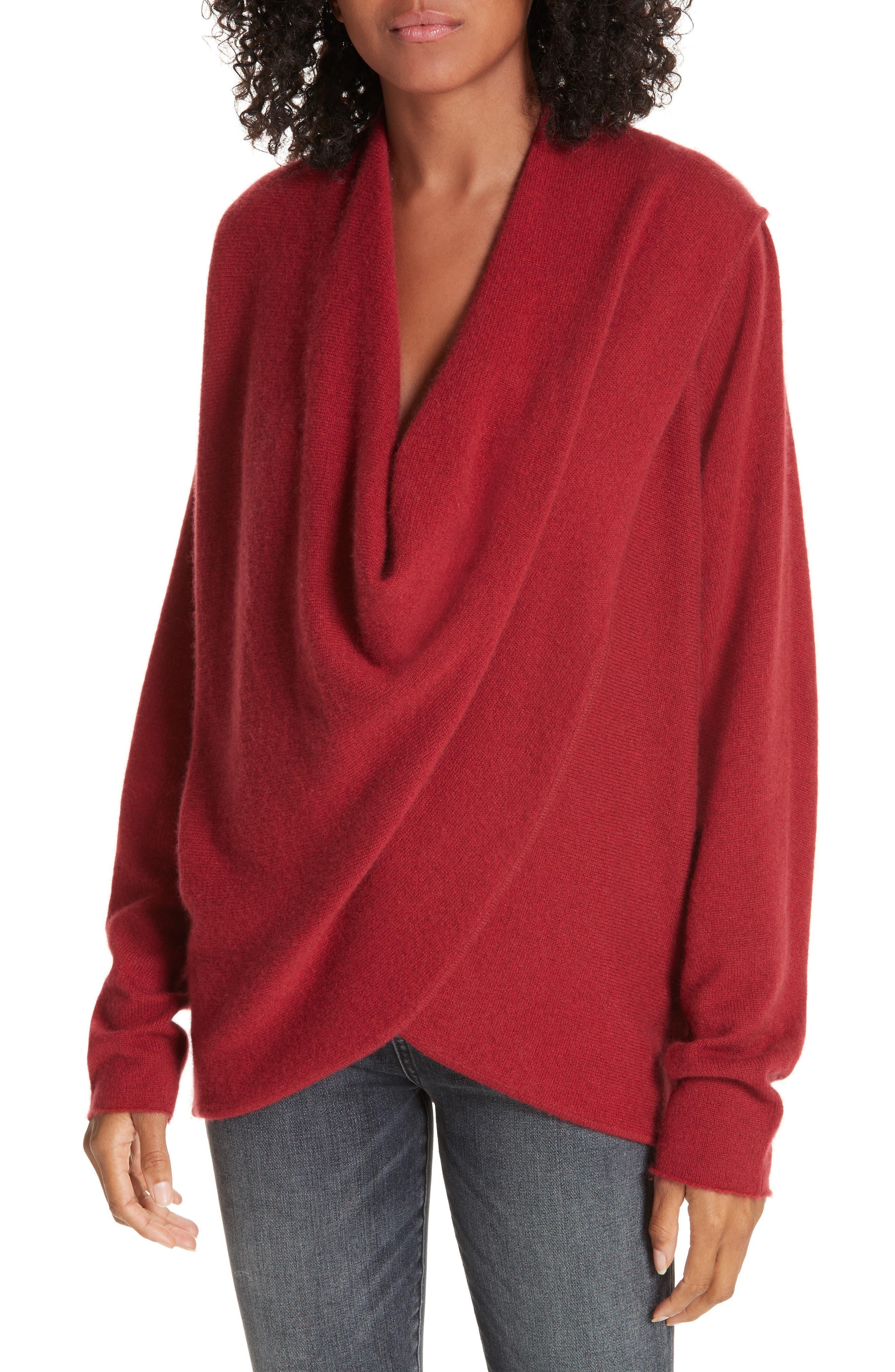 BROCHU WALKER,                             Clea Cashmere Wrap Sweater,                             Main thumbnail 1, color,                             TANGIER