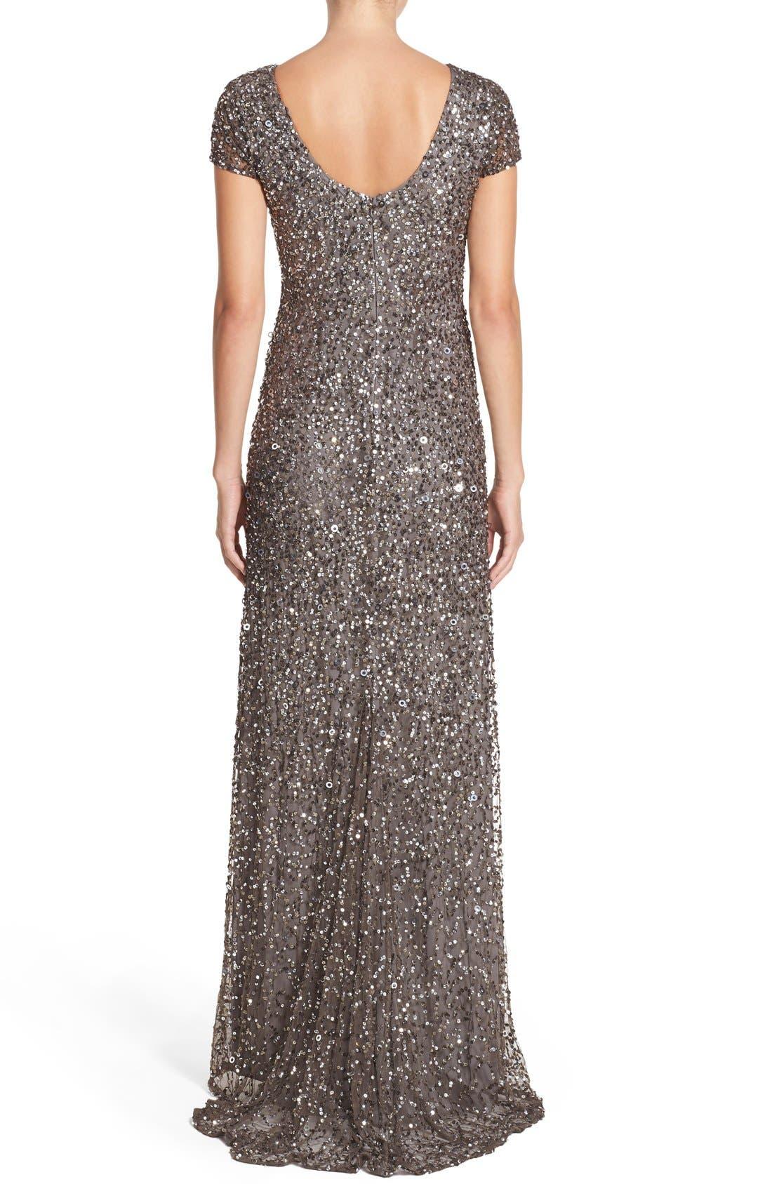 Short Sleeve Sequin Mesh Gown,                             Alternate thumbnail 7, color,                             LEAD