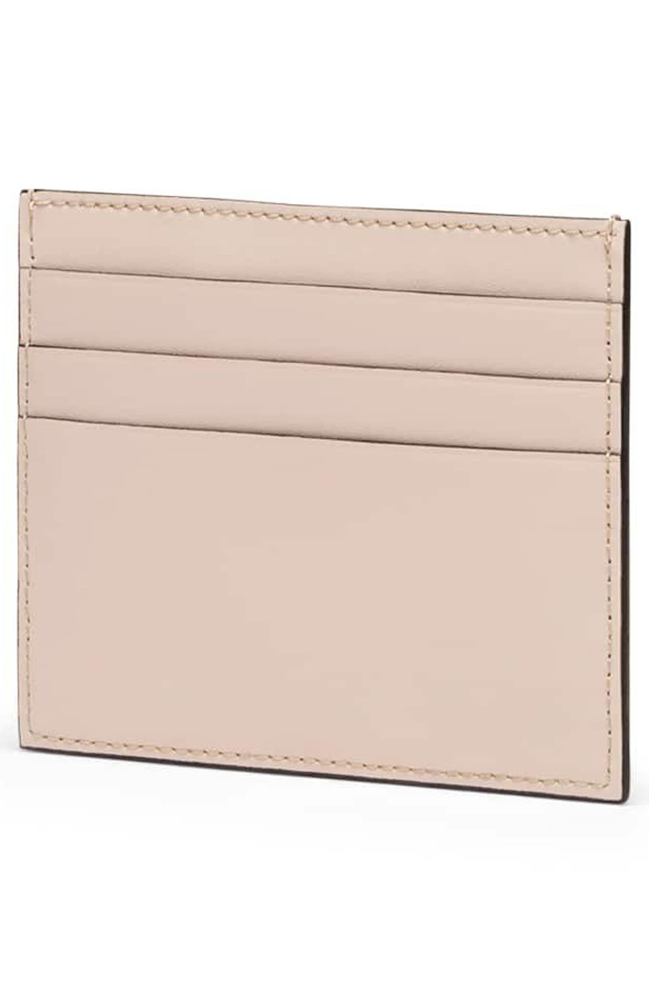 Logo Leather Card Case,                             Alternate thumbnail 3, color,                             SOAP/ ORO SOFT