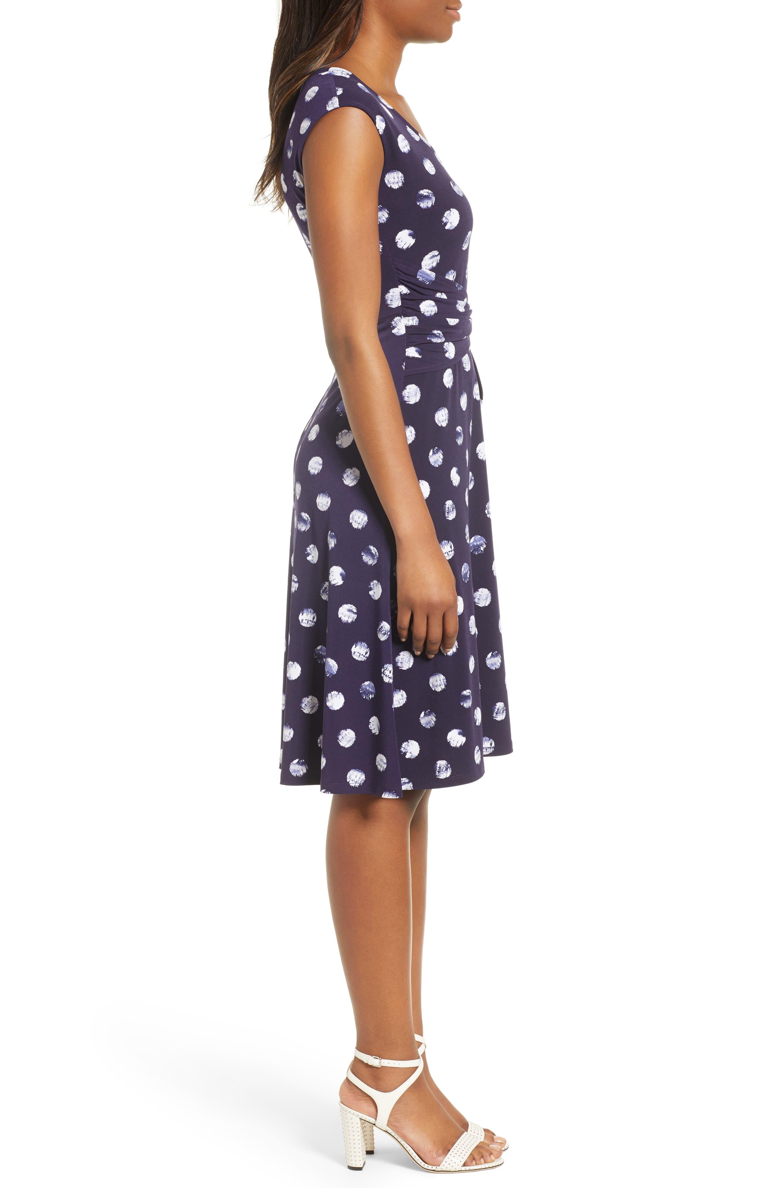 Tie Dye Dot A-Line Dress,                             Alternate thumbnail 3, color,                             EVENING NAVY