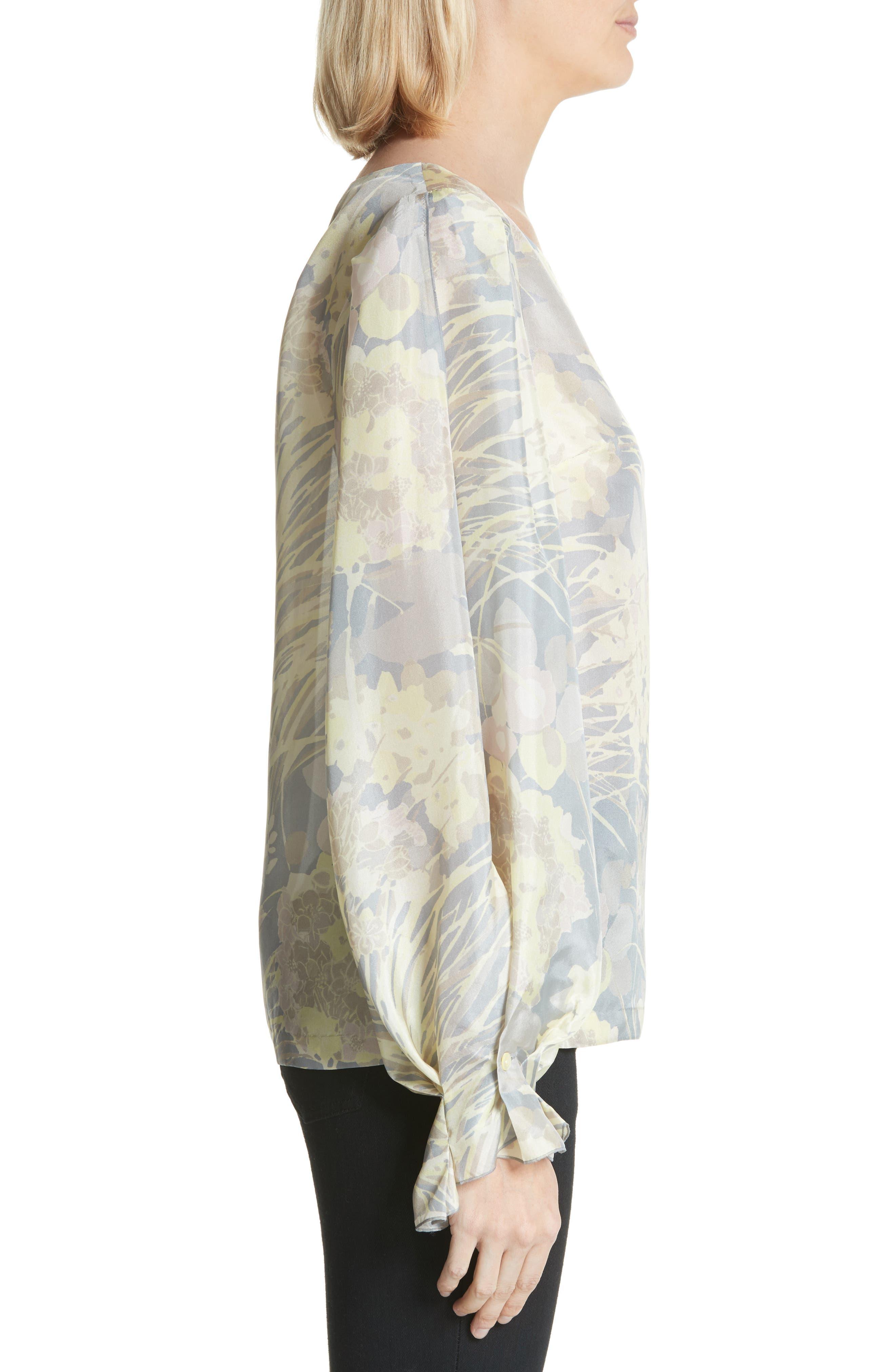 Floral Silk Blouse,                             Alternate thumbnail 3, color,                             020