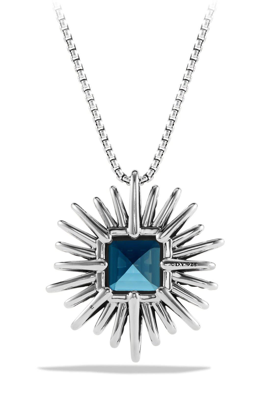DAVID YURMAN,                             'Starburst' Necklace with Diamonds in Silver,                             Alternate thumbnail 3, color,                             HAMPTON BLUE TOPAZ