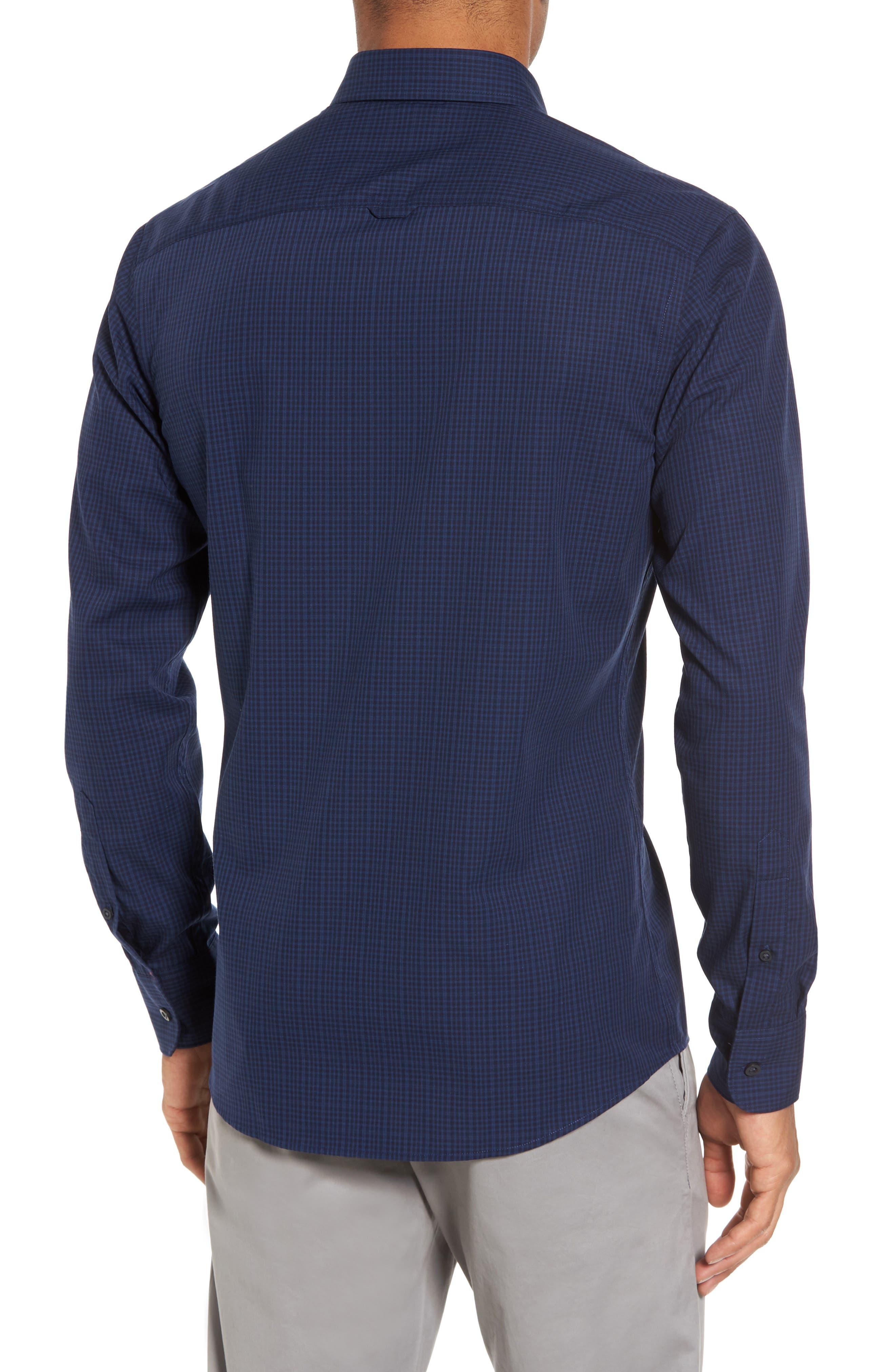 Trim Fit Non-Iron Mini Check Sport Shirt,                             Alternate thumbnail 2, color,                             410