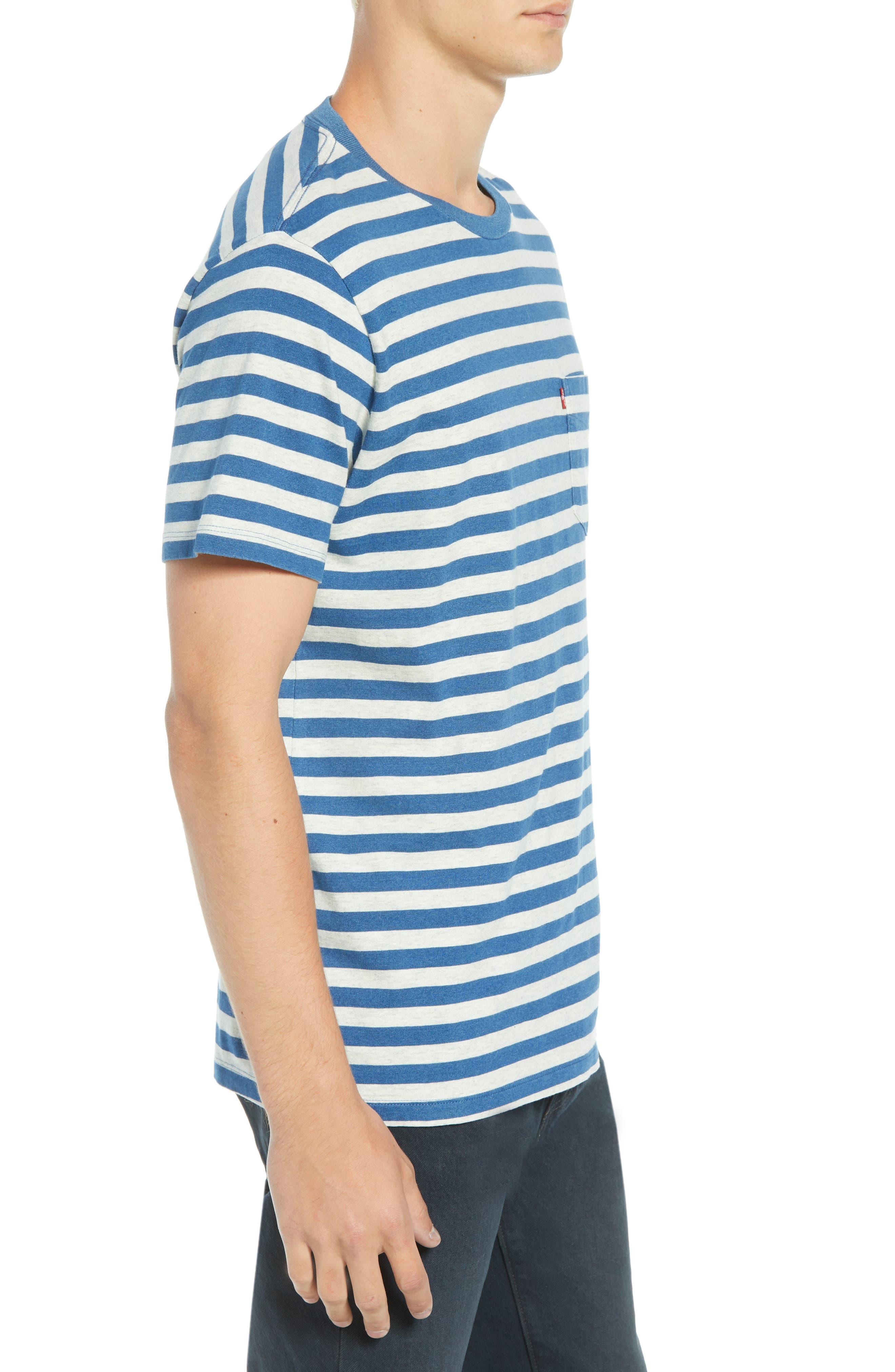 Sunset Stripe Pocket T-Shirt,                             Alternate thumbnail 3, color,                             CREAM HALF INCH STRIPE